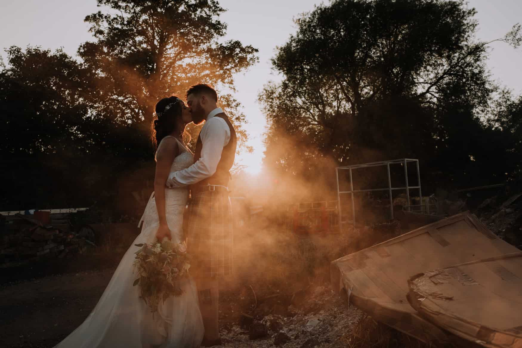 Bride and groom bonfire shot at Owen House Wedding barn
