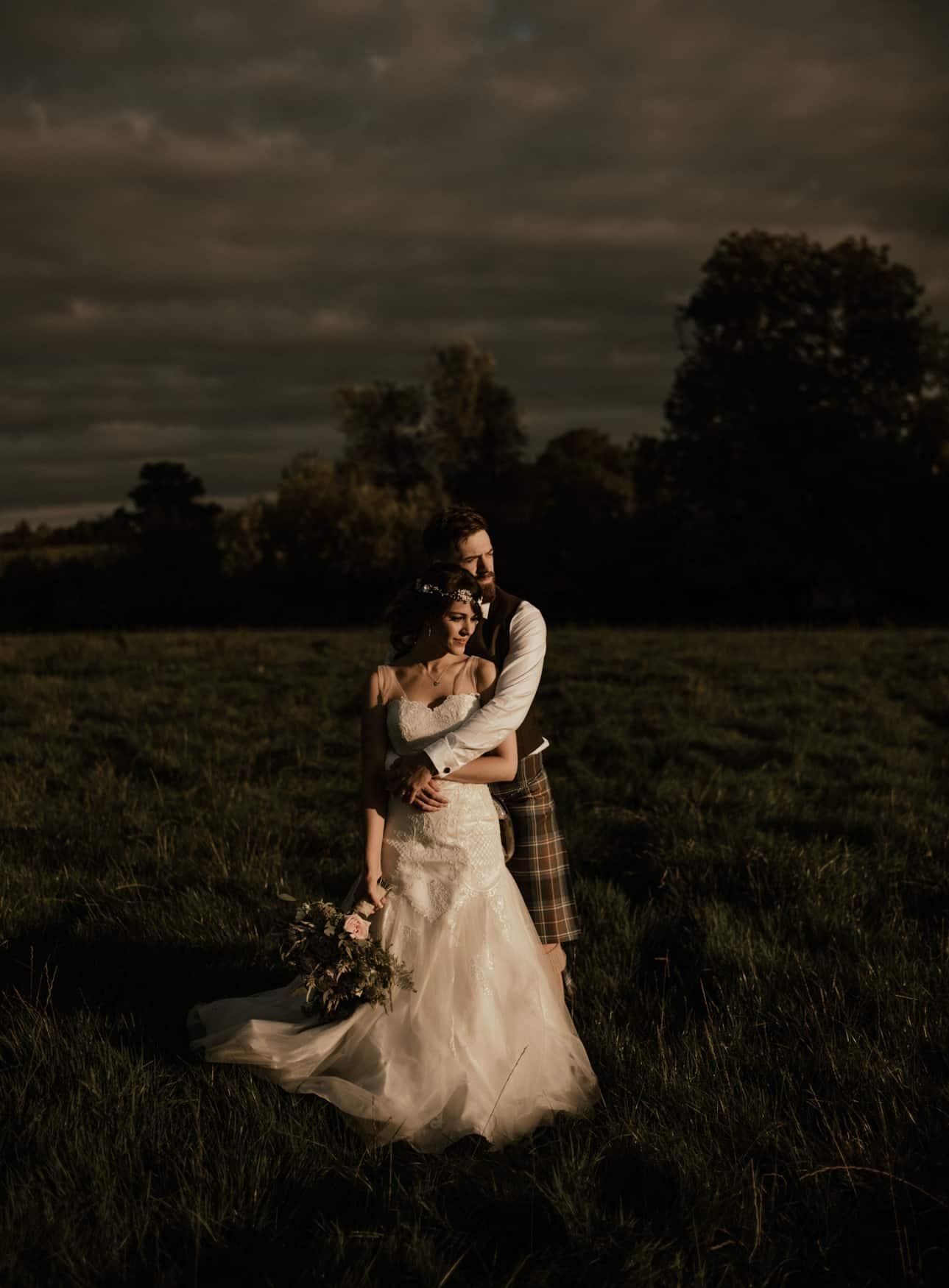 sun kissed Bride and groom