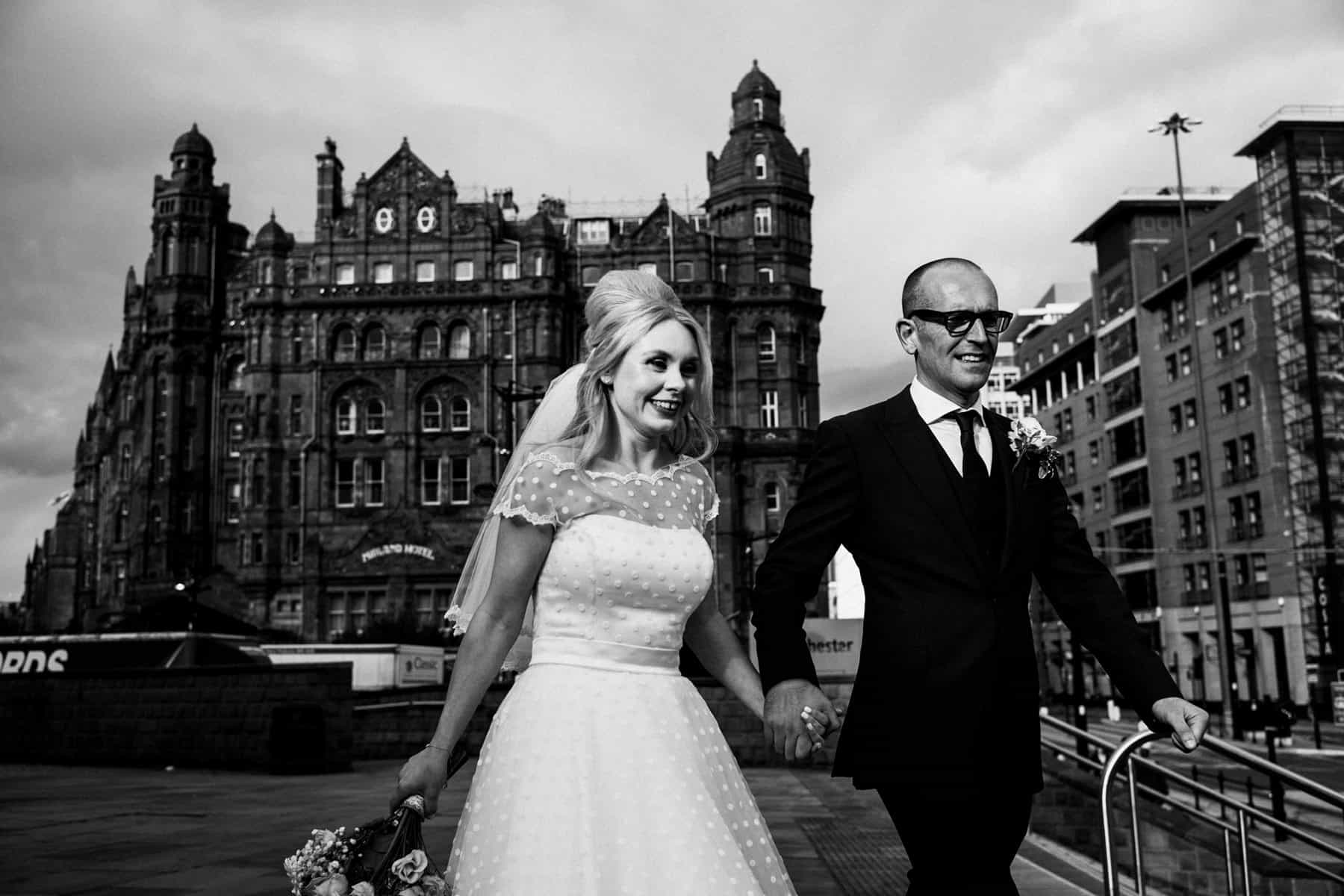 Bride and groom portrait in manchester