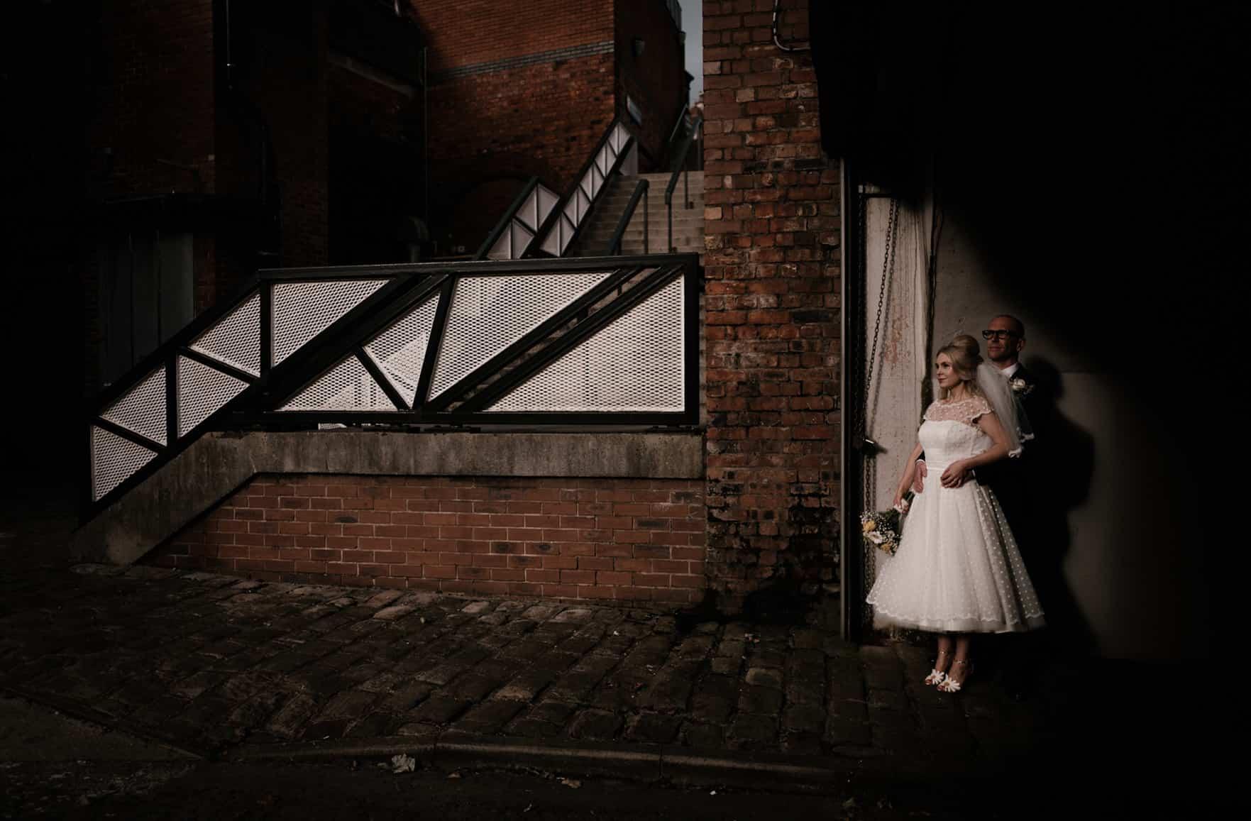 bride and groom portrait in golden light