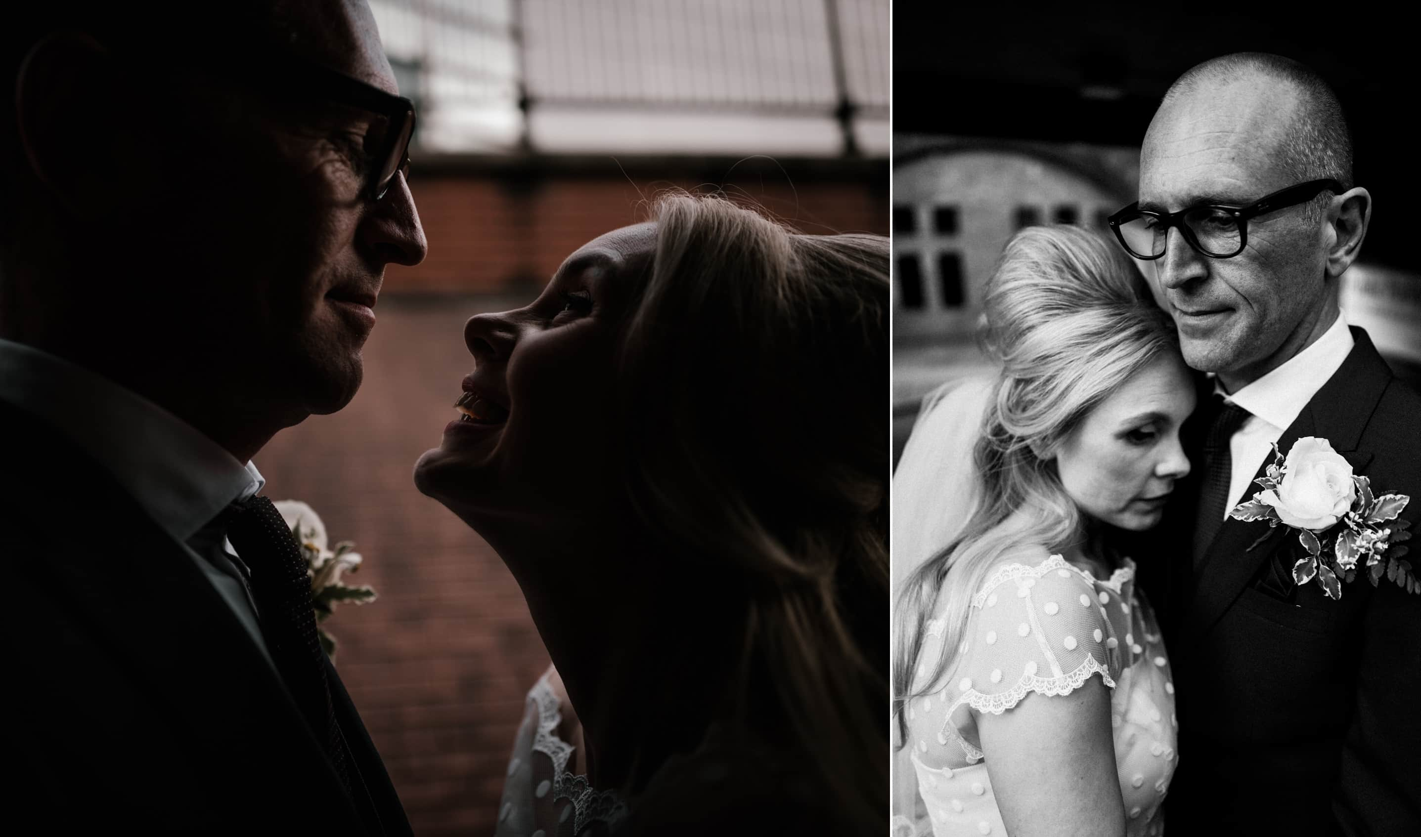 Bride and groom portraits on the city