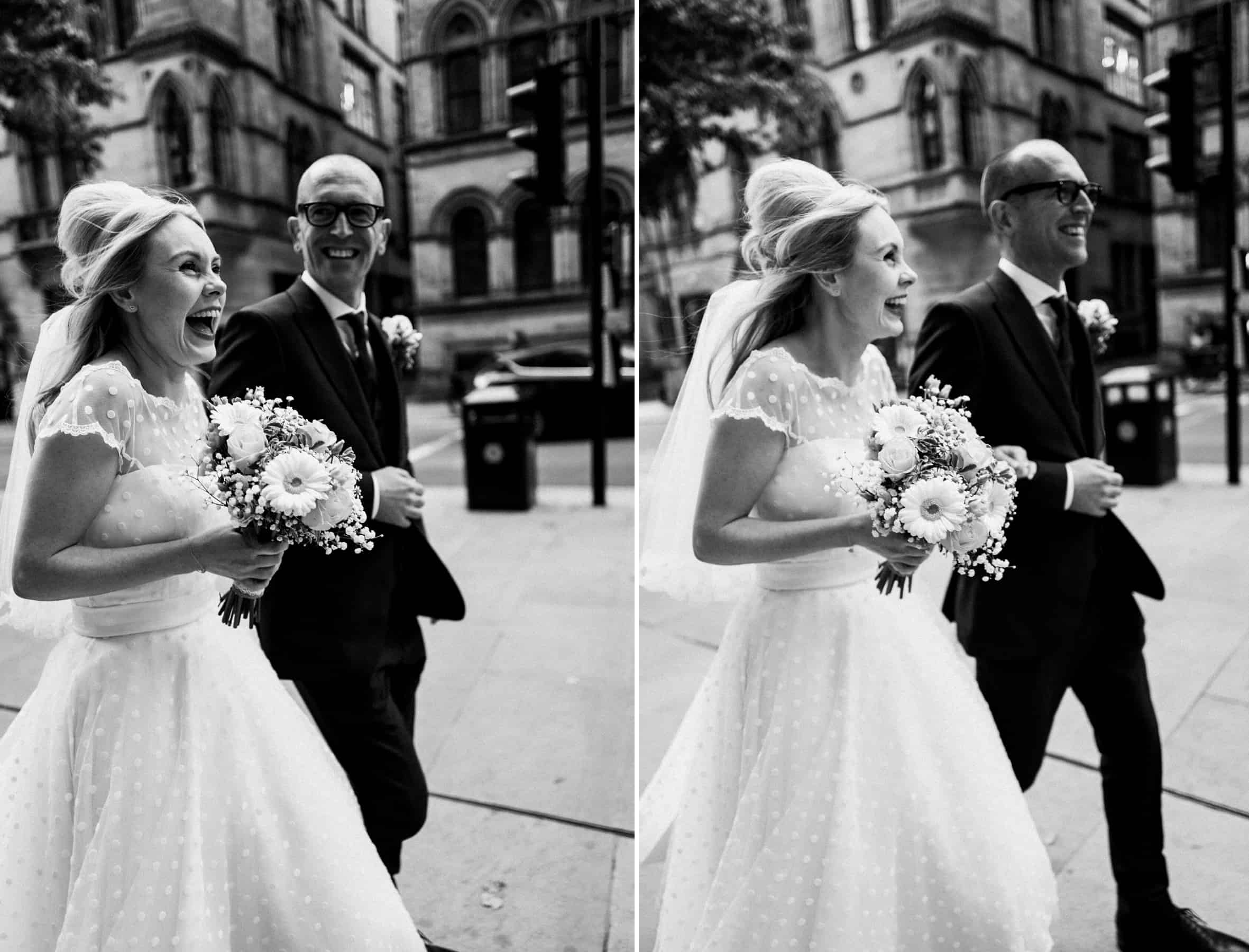 bride and groom laughter in the city of manchester