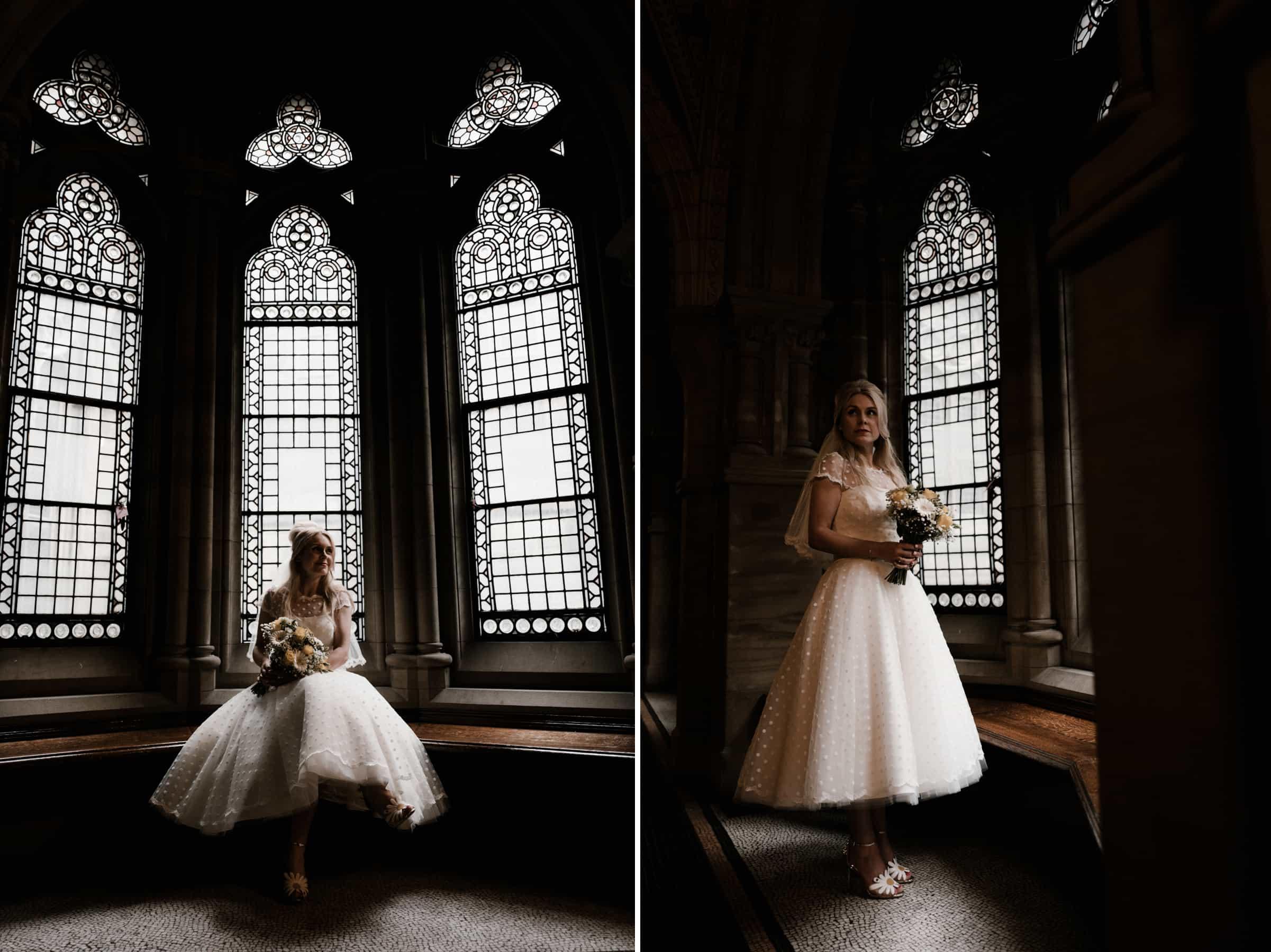 Bride portrait next to a window