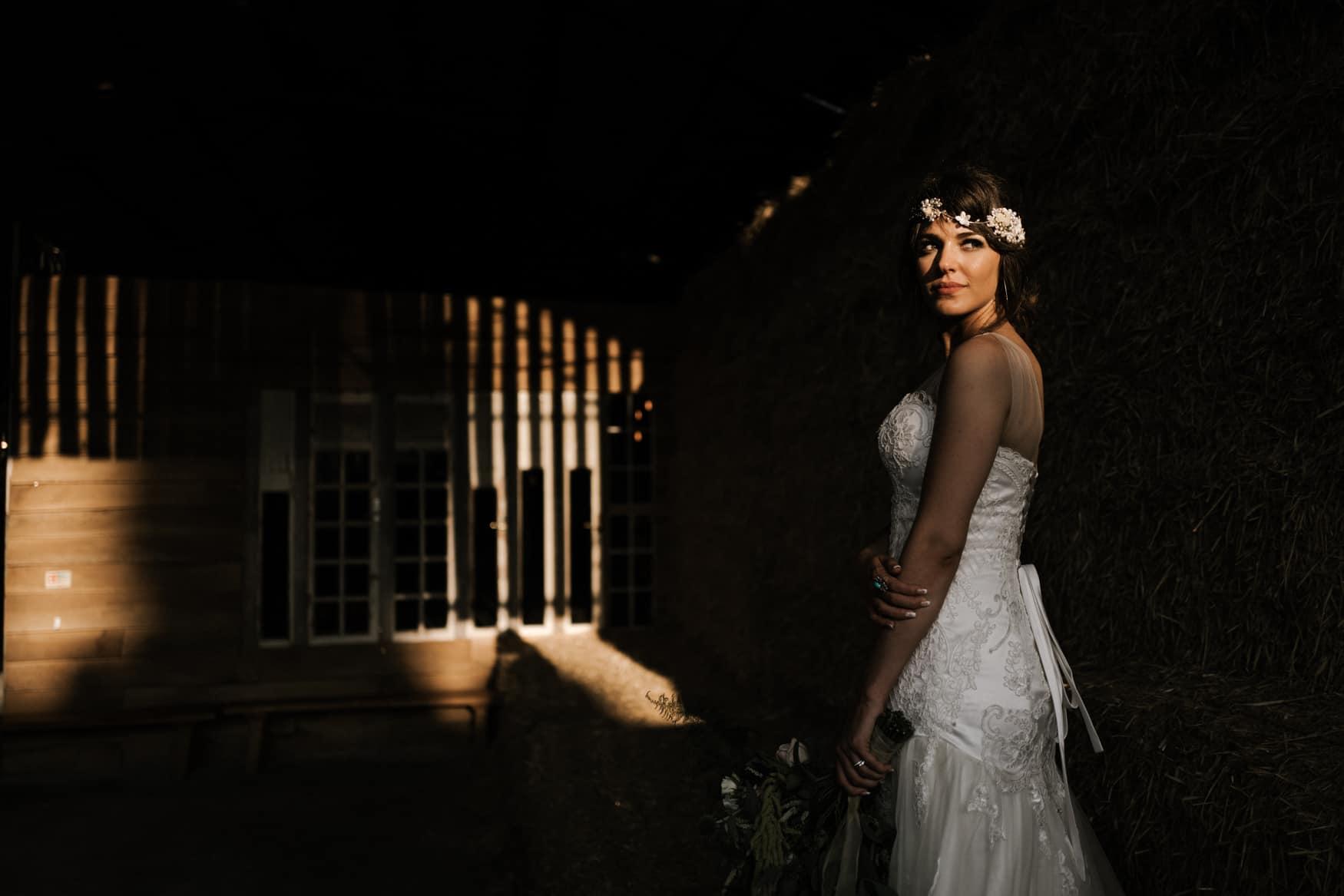 bride portrait in some beautiful golden light