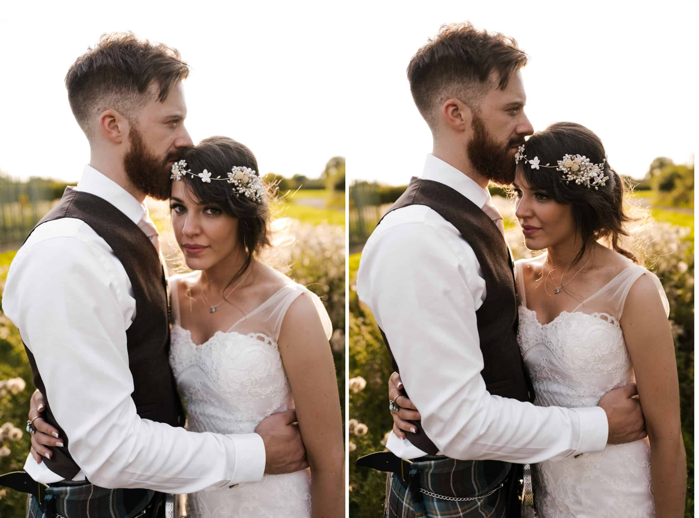 bride and groom portrait in a sun kissed field
