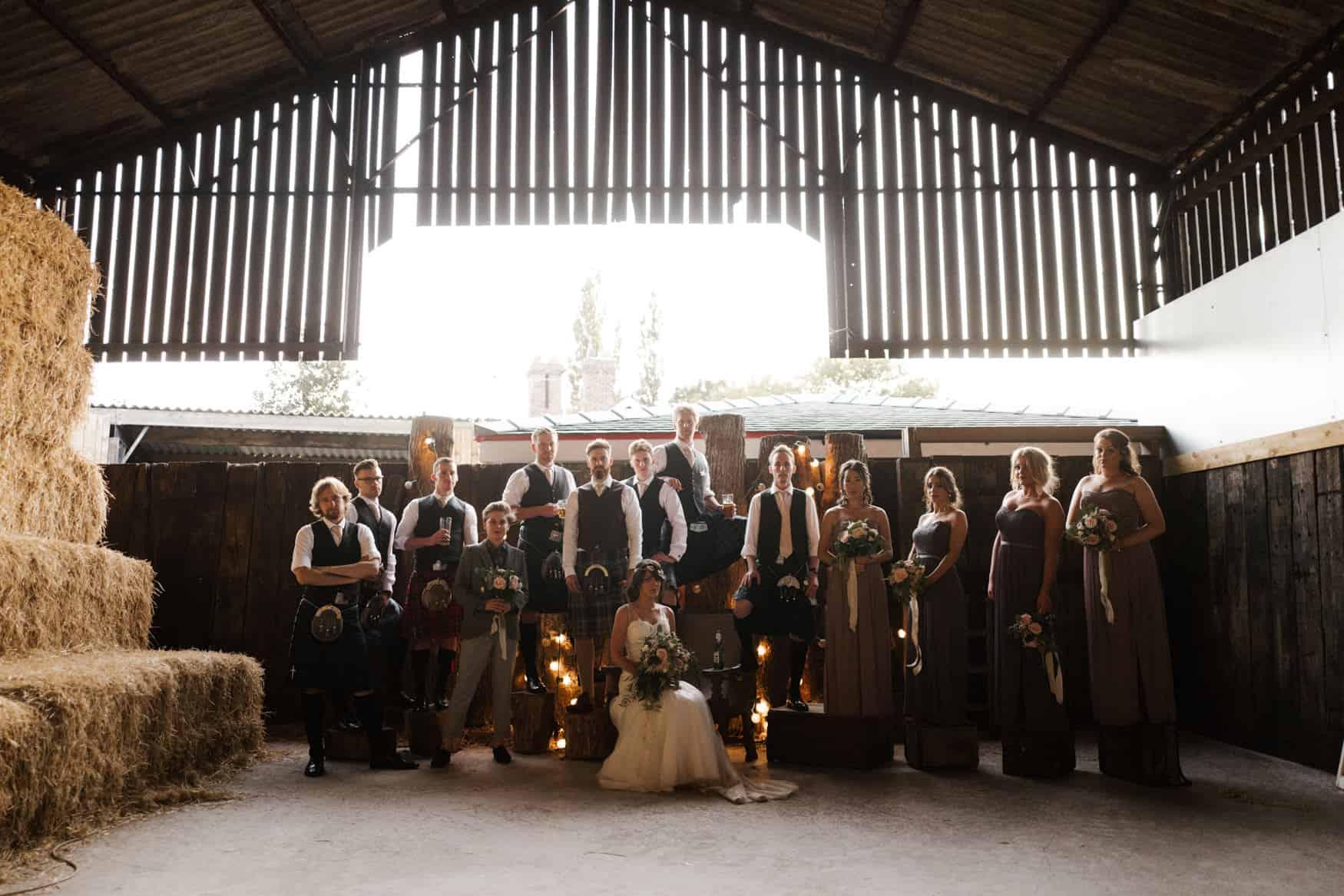 Wedding bridal party shot at Owen House Wedding barn