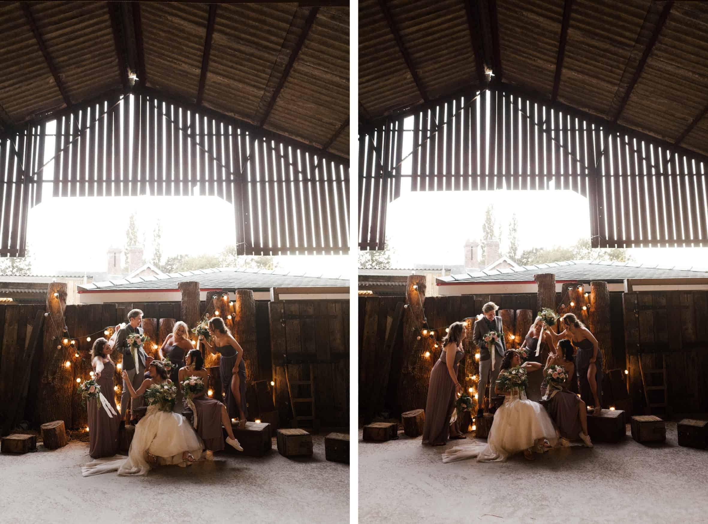 bride and bridesmaids shot at Owen House Wedding barn
