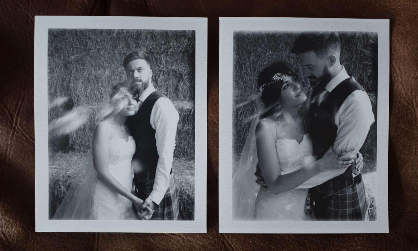 bride and groom polaroid portrait