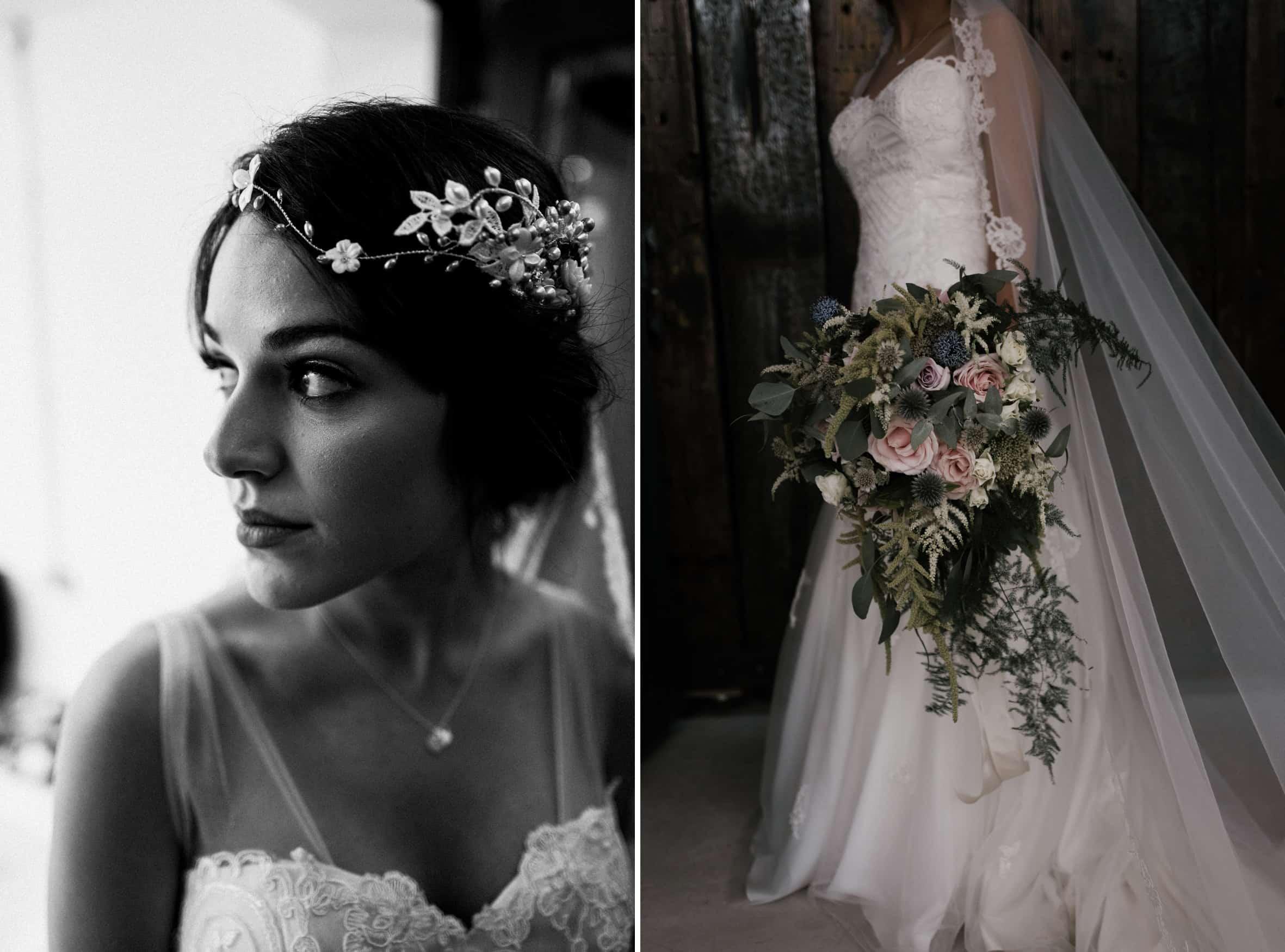 pre wedding bride portrait with flowers