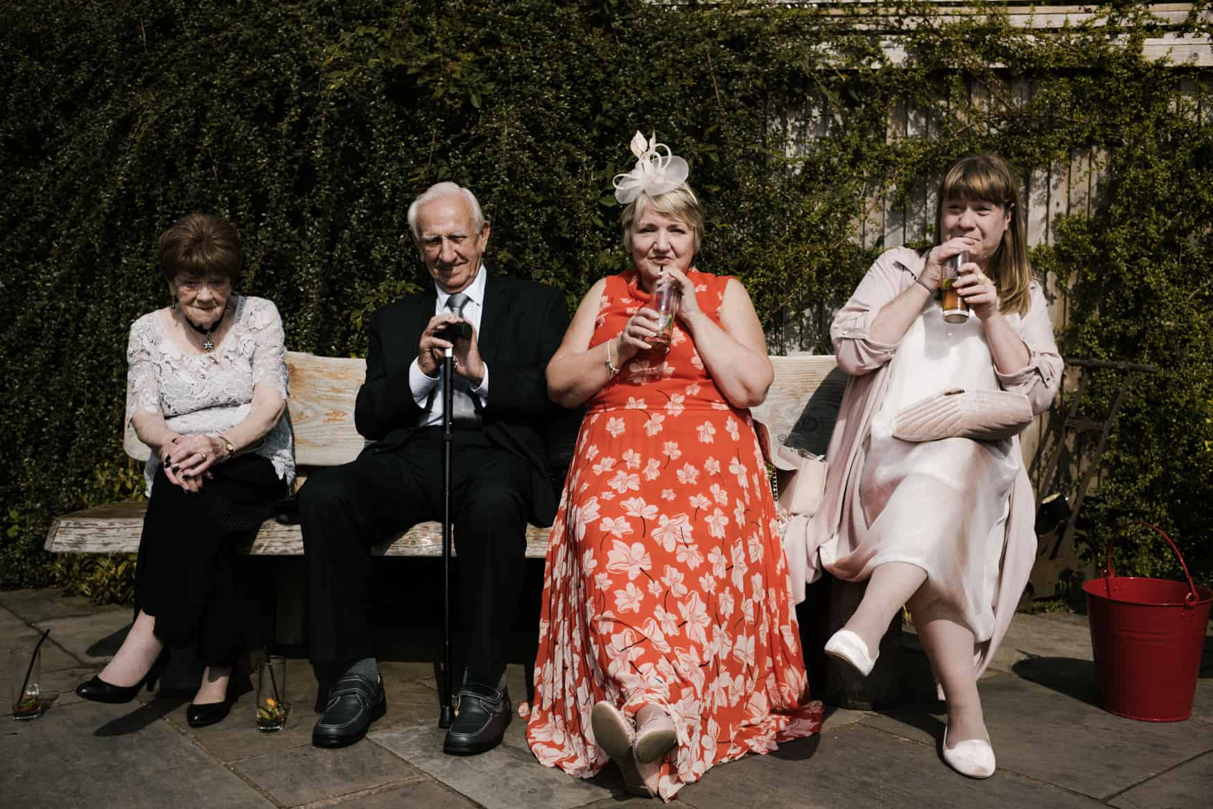 wedding party having drinks