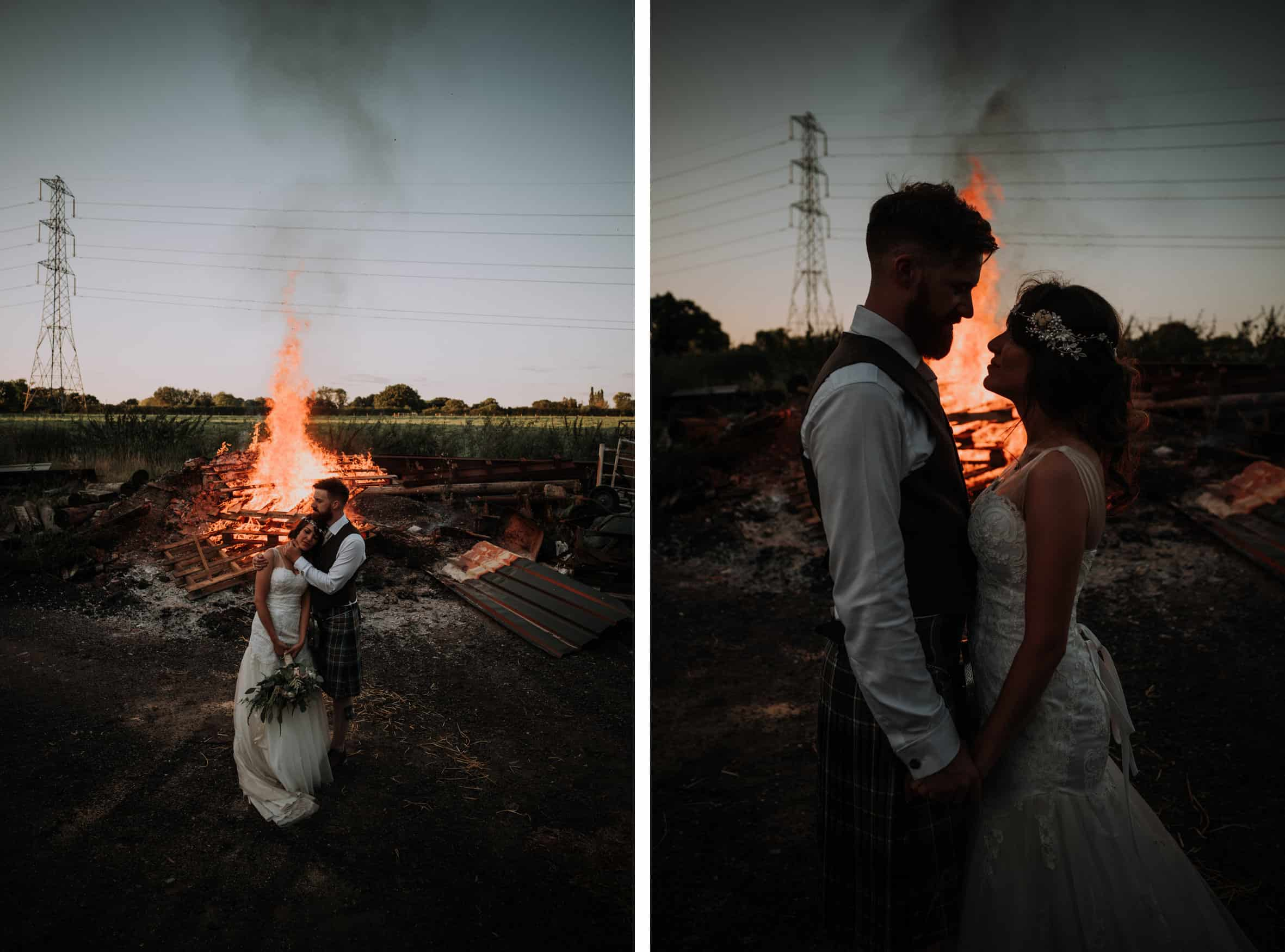 Bride and groom bonfire portrait