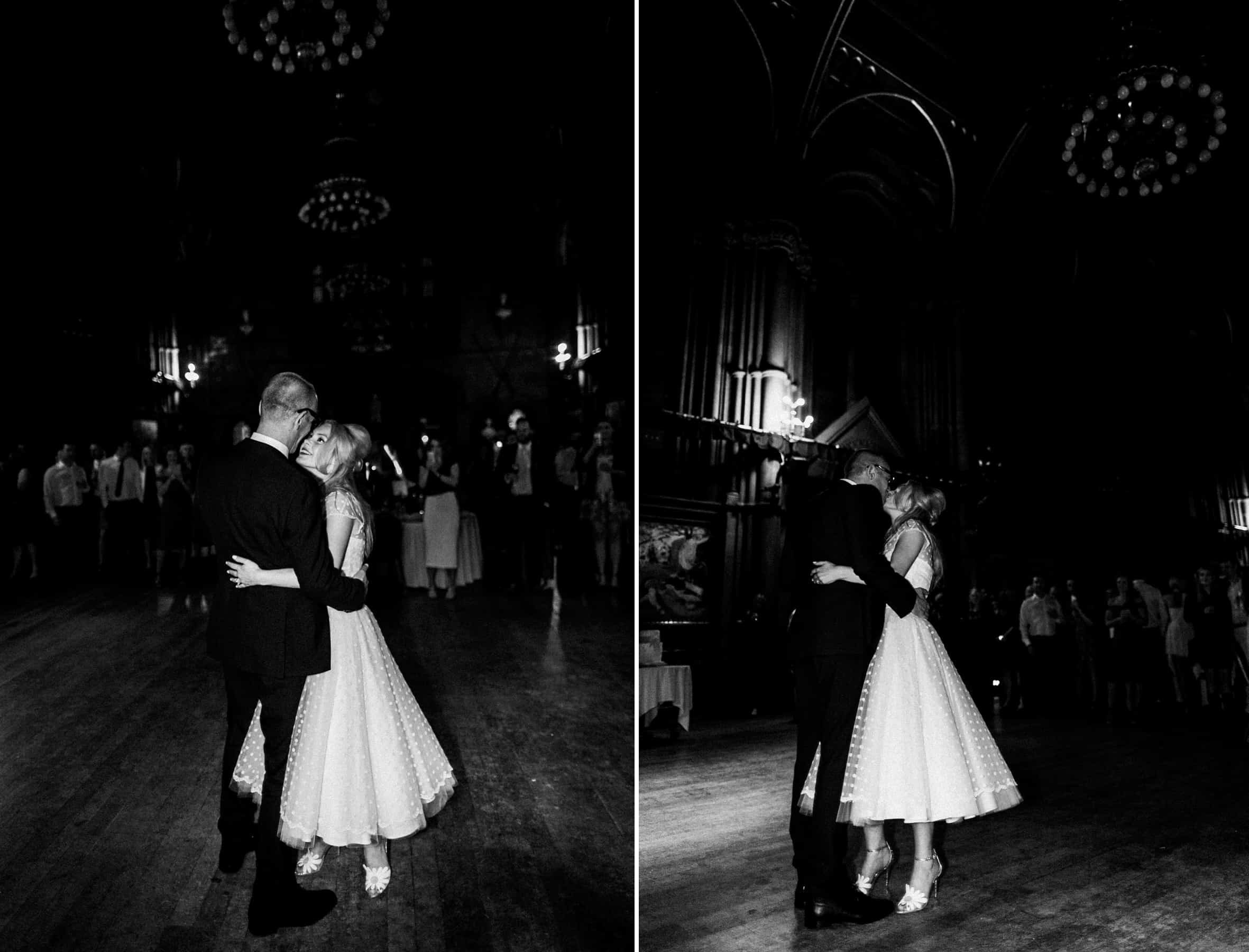 bride and groom first dance at manchester town hall