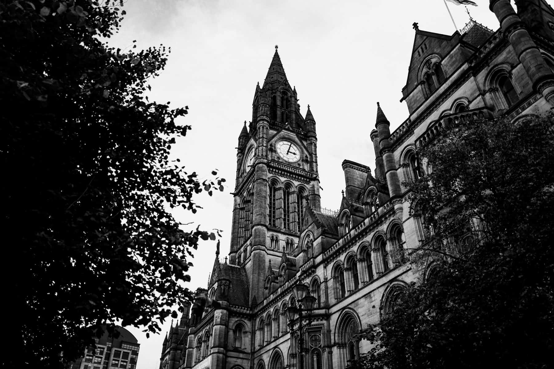 Manchester Town Hall black and white