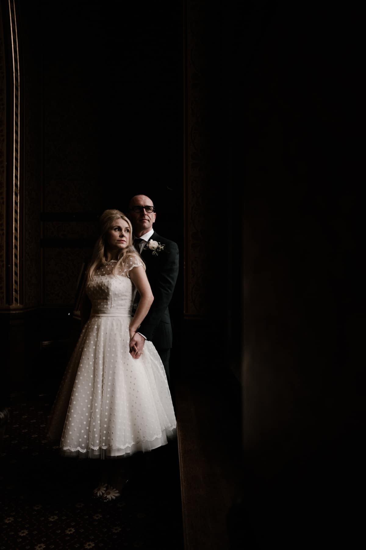 Wedding portrait at manchester Town hall