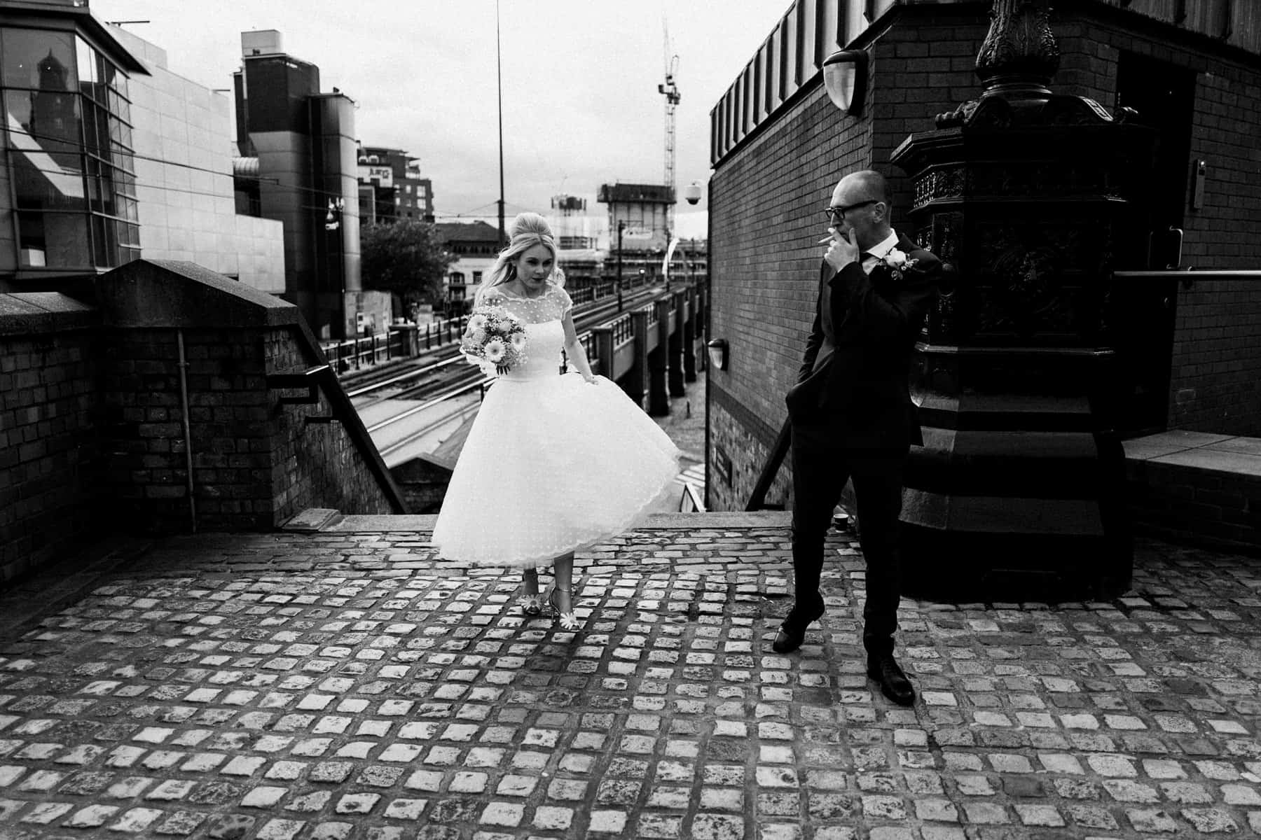 black and white bride and groom portraits in manchester