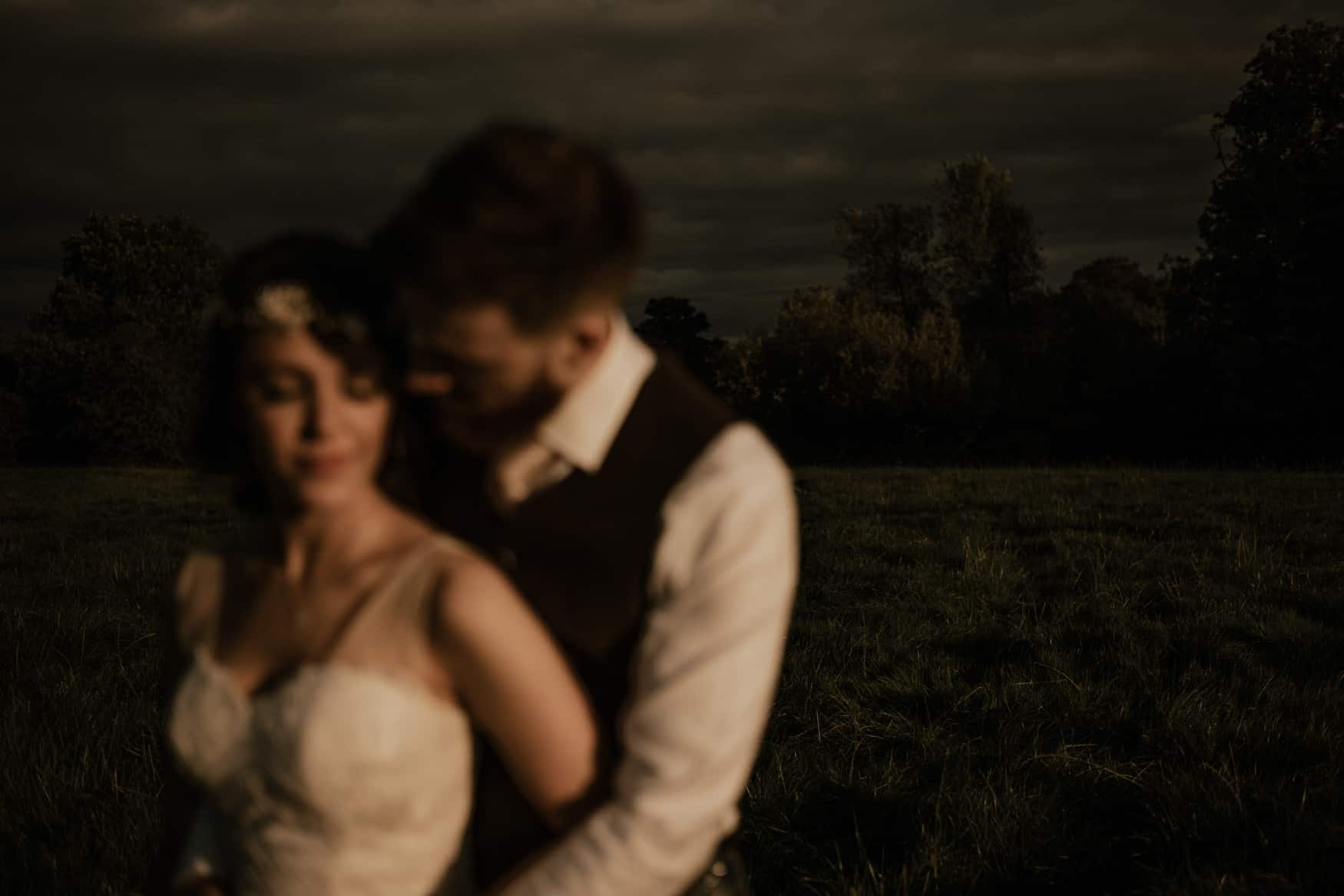bride and groom portrait out of focus shot