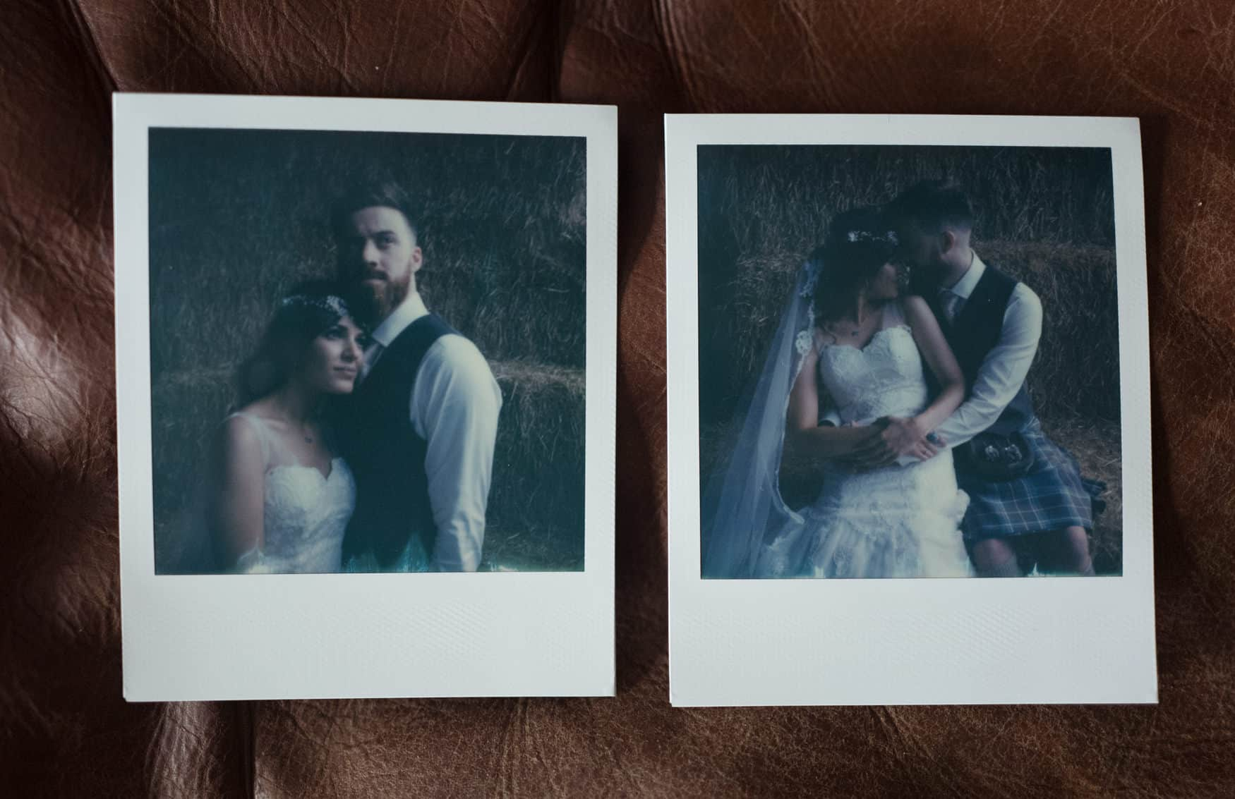 bride and groom polaroid portrait at Owen House Wedding Barn
