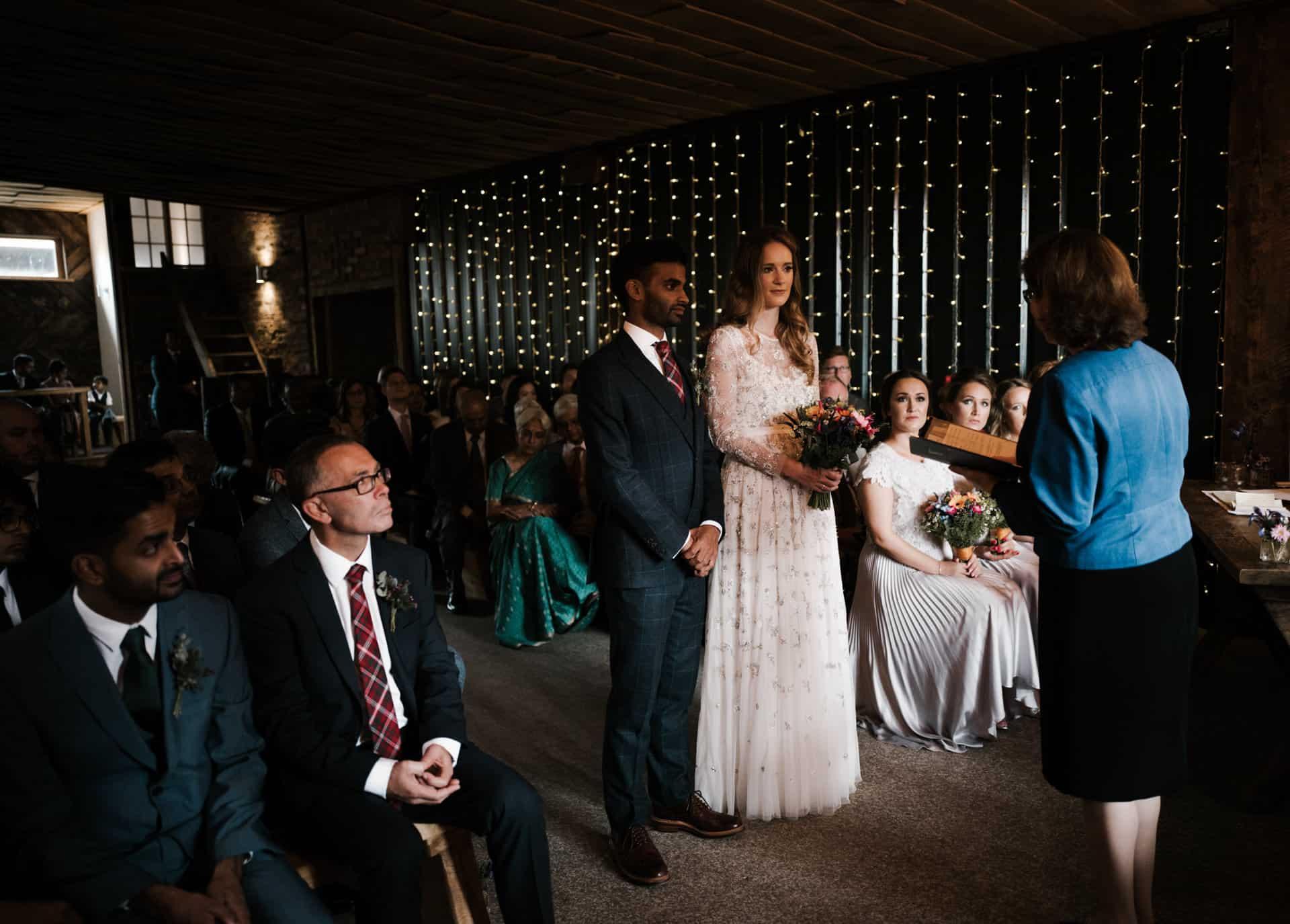 wedding ceremony at Owen House barn wedding