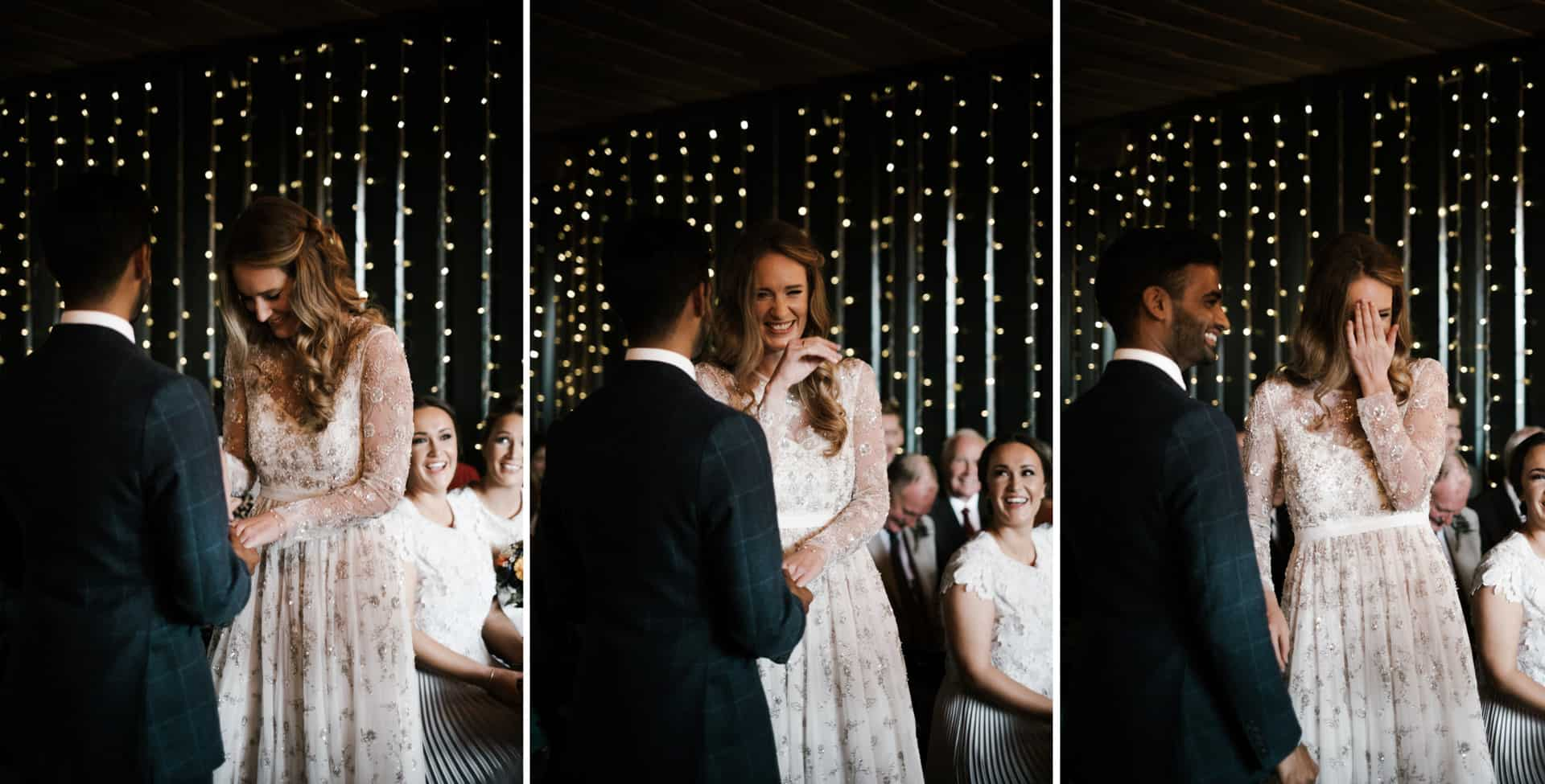 bride and groom laugh during the ceremony