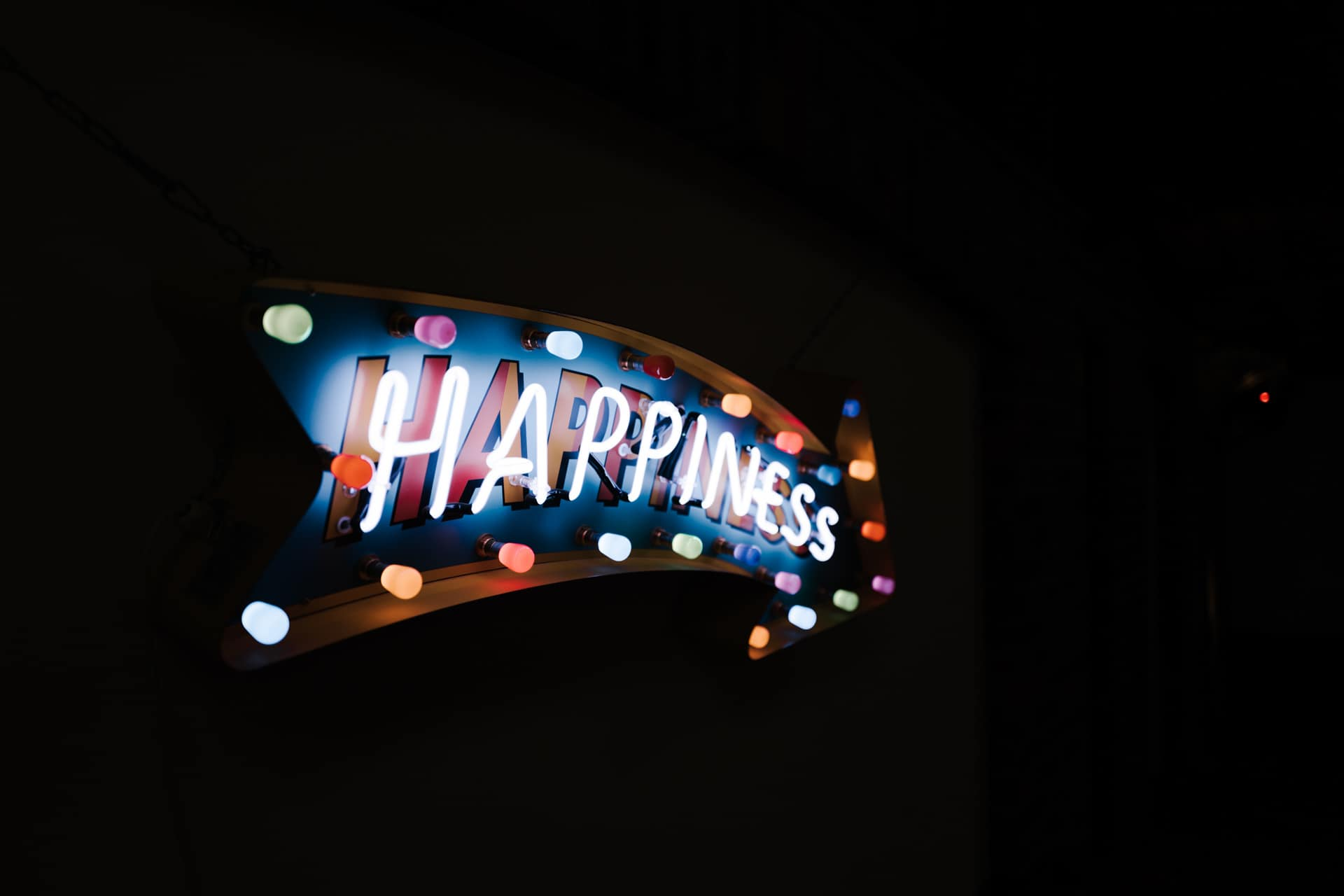 happiness sign at Owen House barn wedding