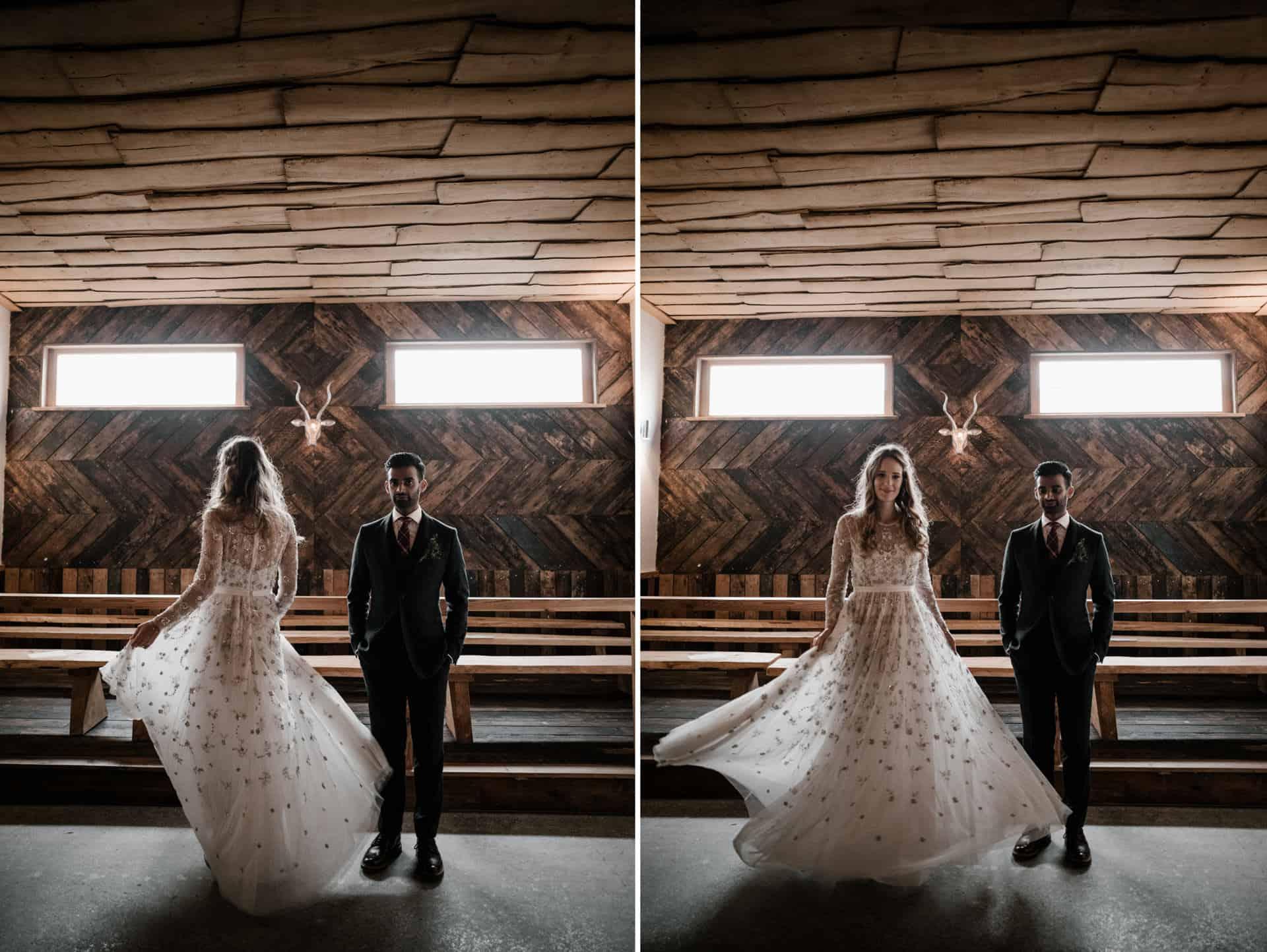 bride twirling dress at Owen House barn wedding