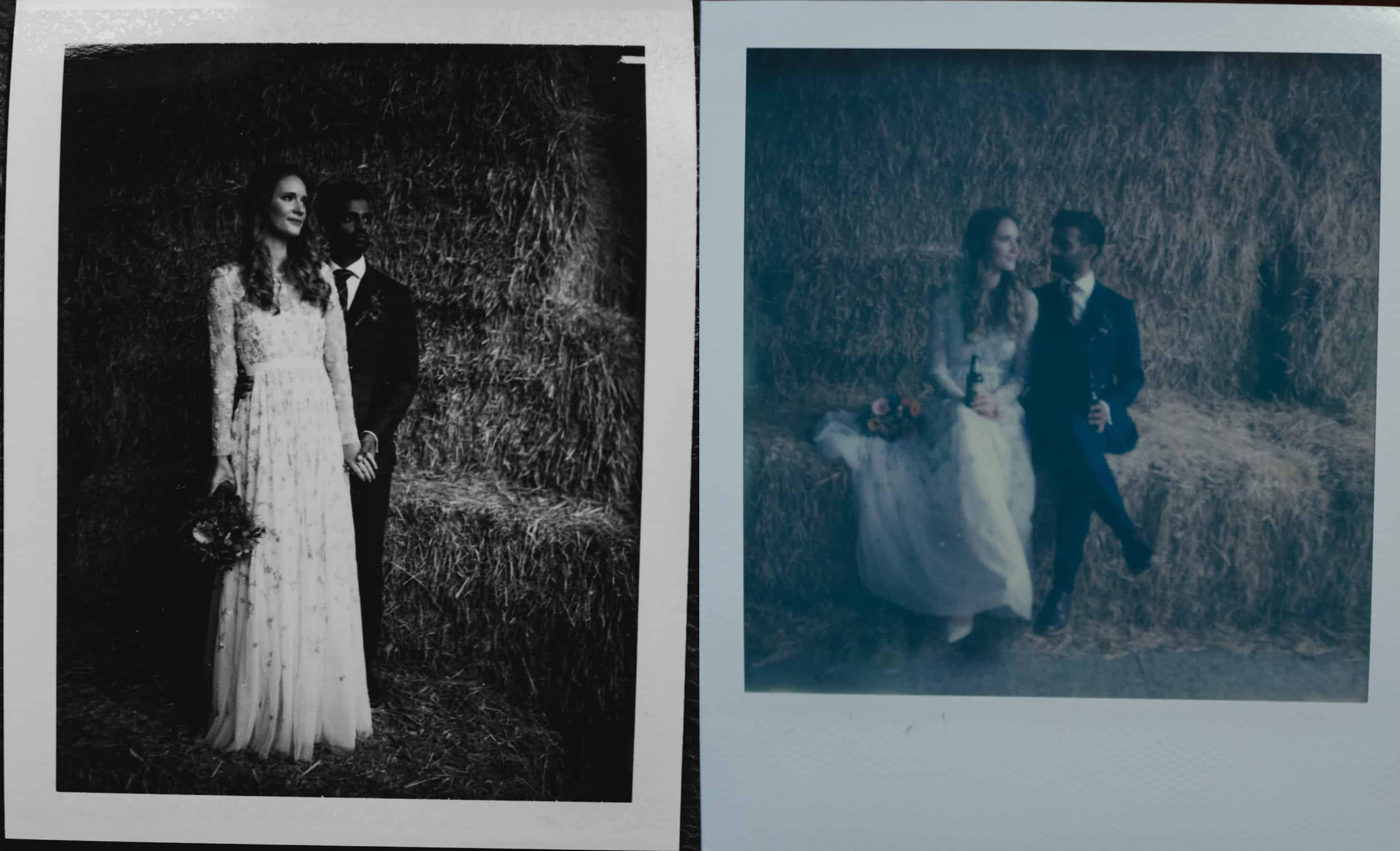 ploroid shots of bride and groom at bride twirling dress at Owen House barn wedding