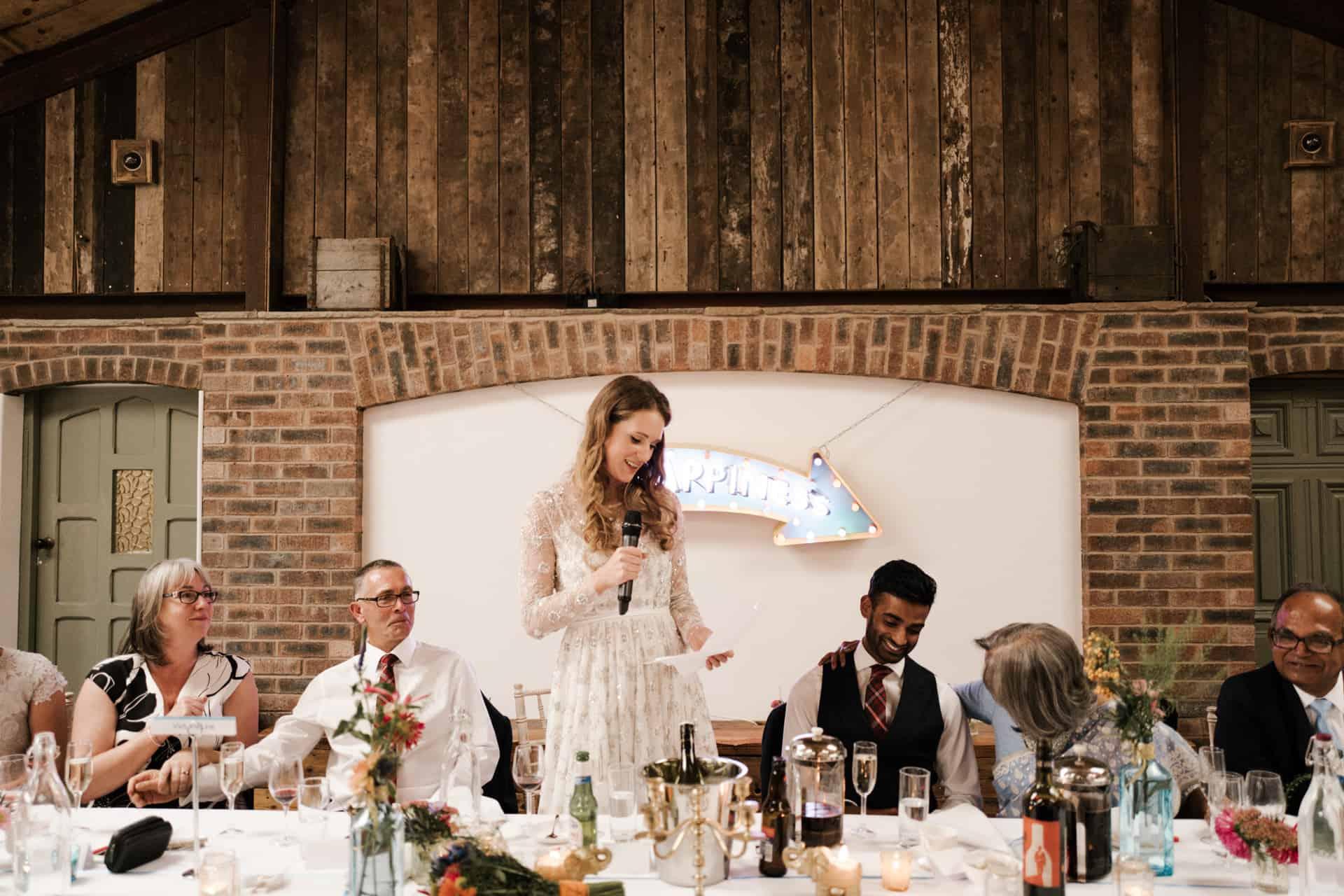 bride doing a speech