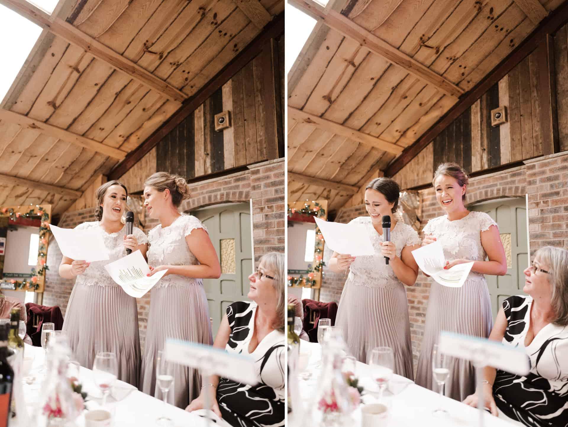 bridesmaids doing speeces