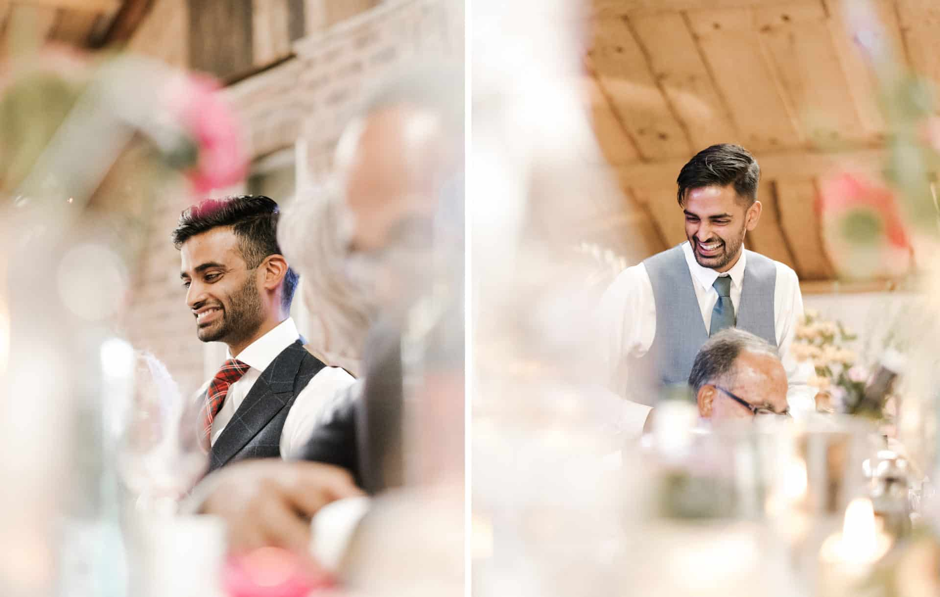 grrom and best man laugh during speeches