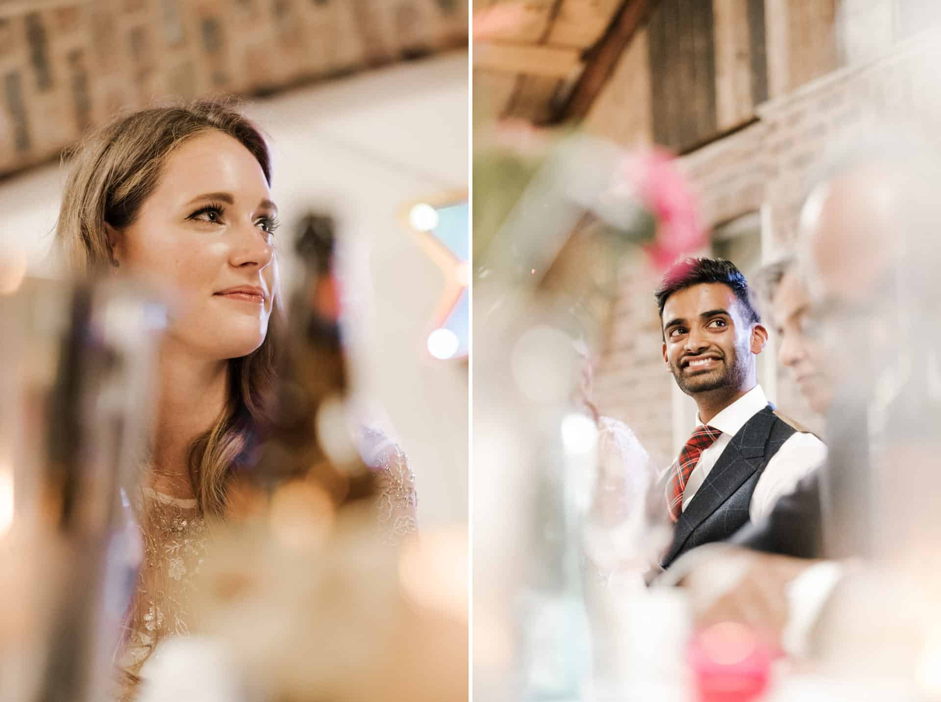 bride and groom during speeches at Owen House barn wedding