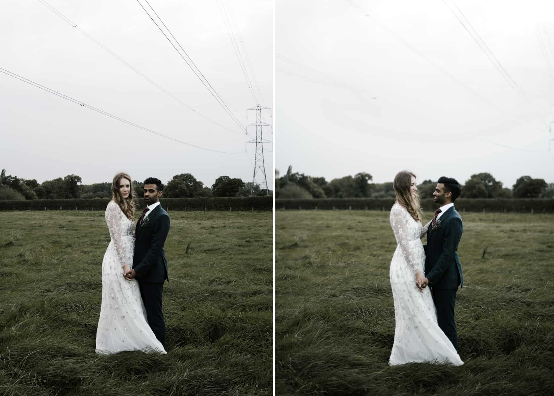 bride and groom in a field portrait at Owen House barn wedding