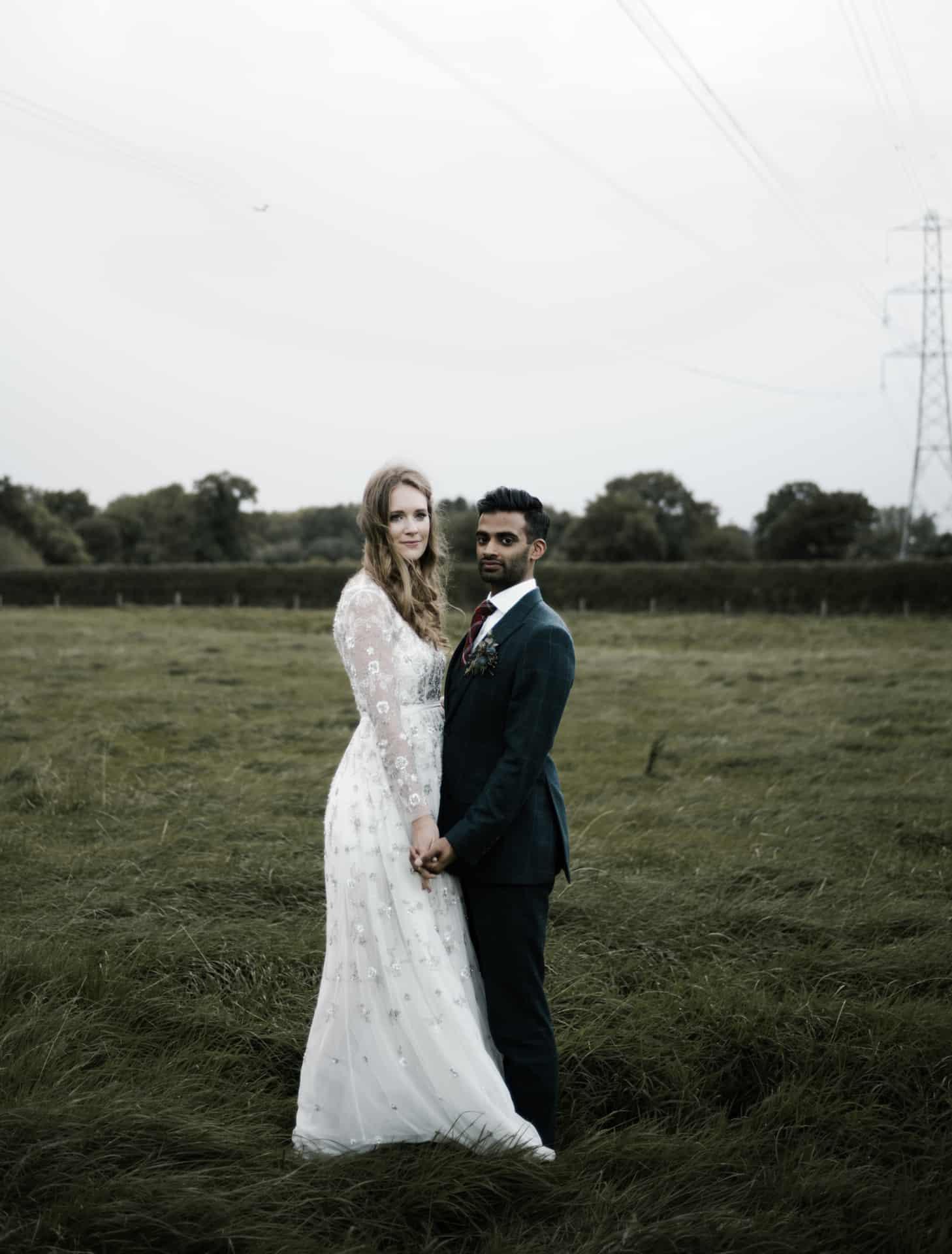 bride and groom portrait at Owen House barn wedding