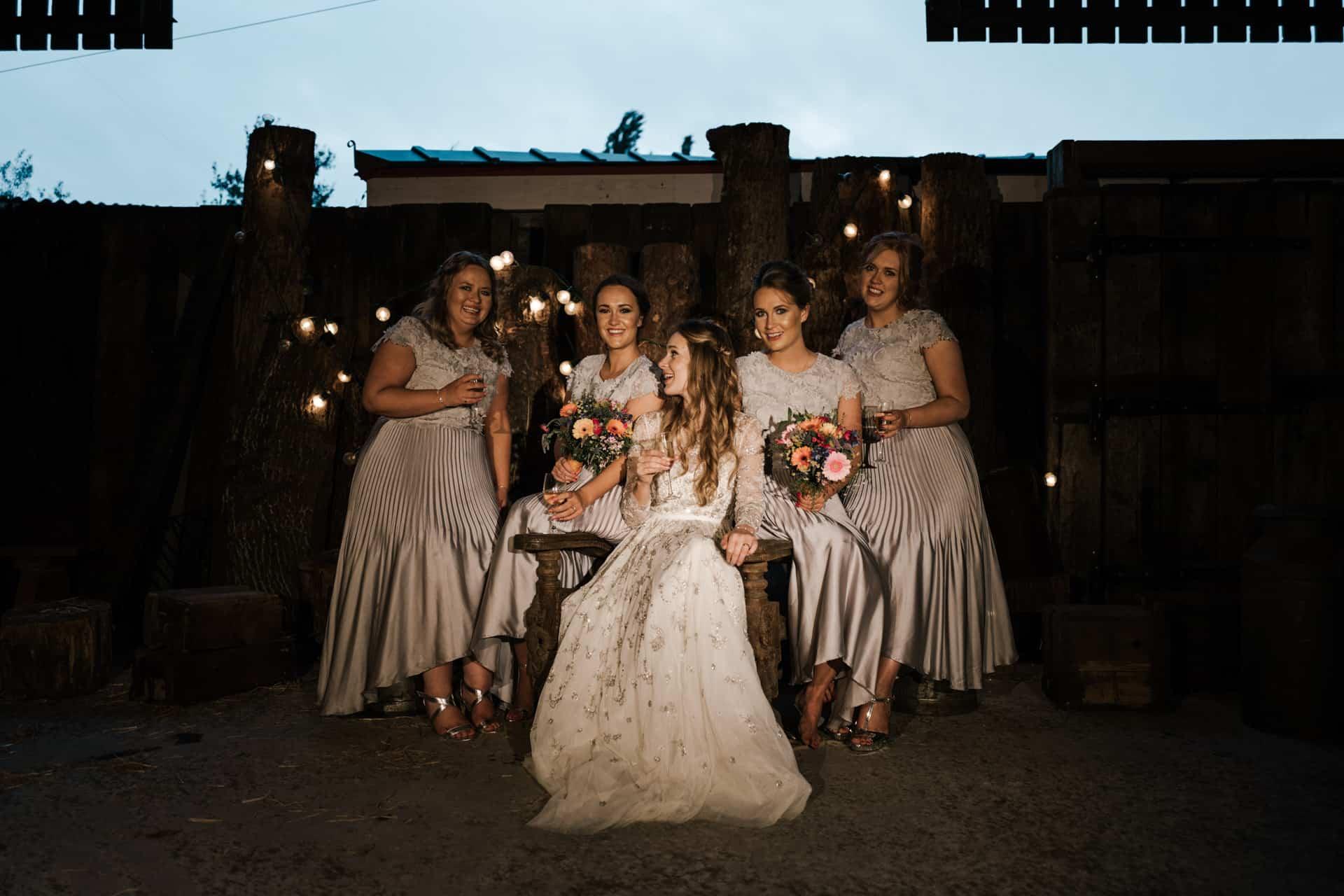 bridesmaids shot at Owen house barn wedding