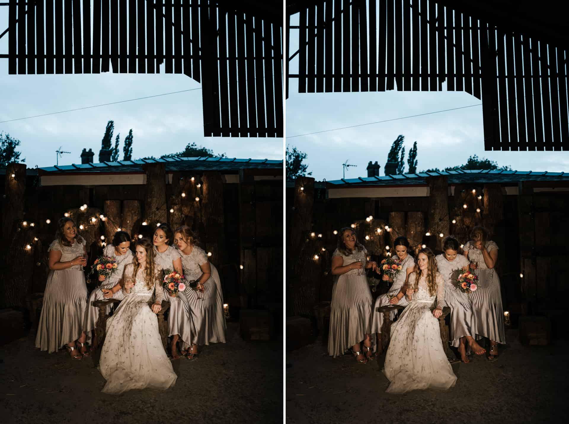 bridesmaids fun shot at Owen house barn wedding