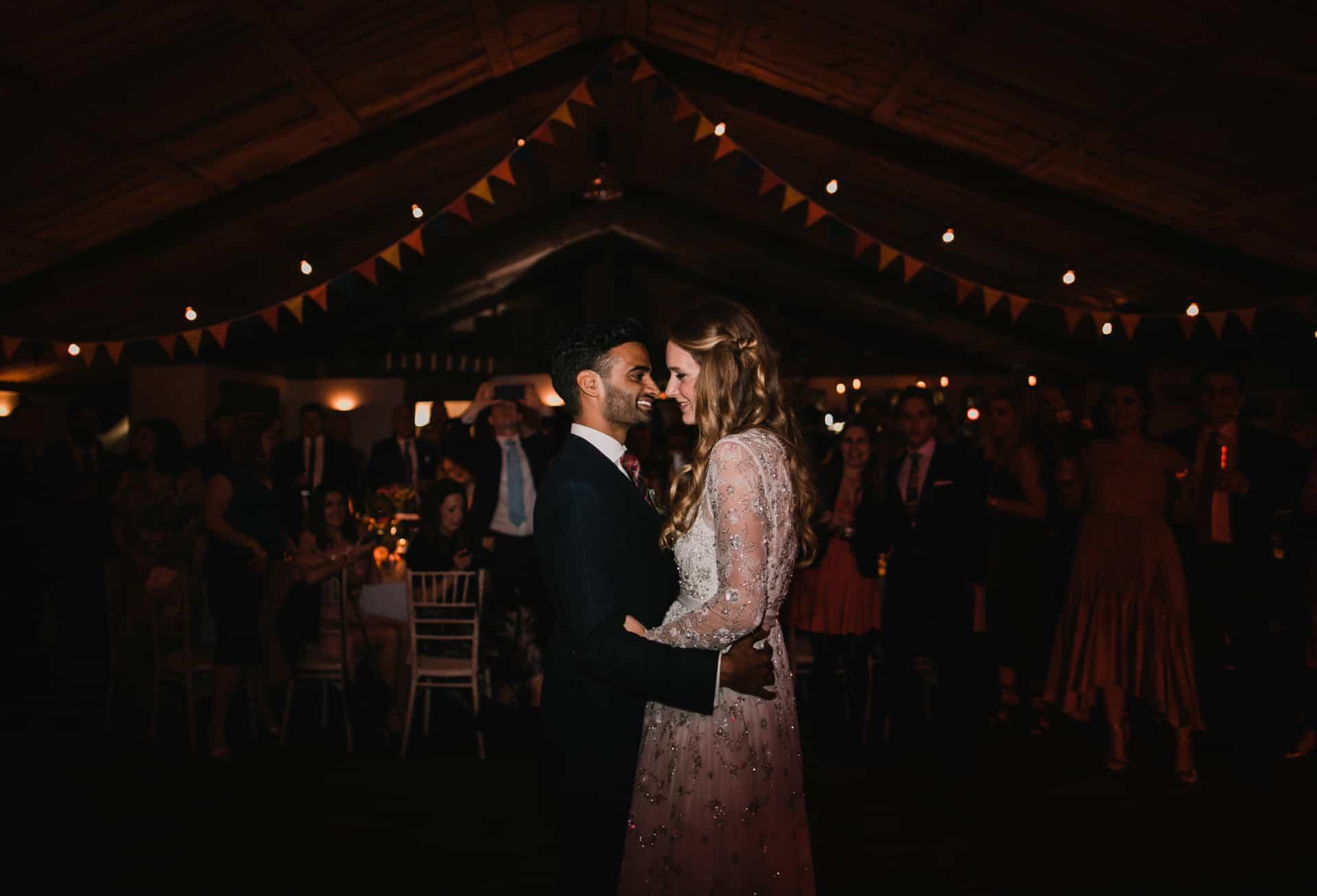 first dance at bridesmaids shot at Owen house barn wedding