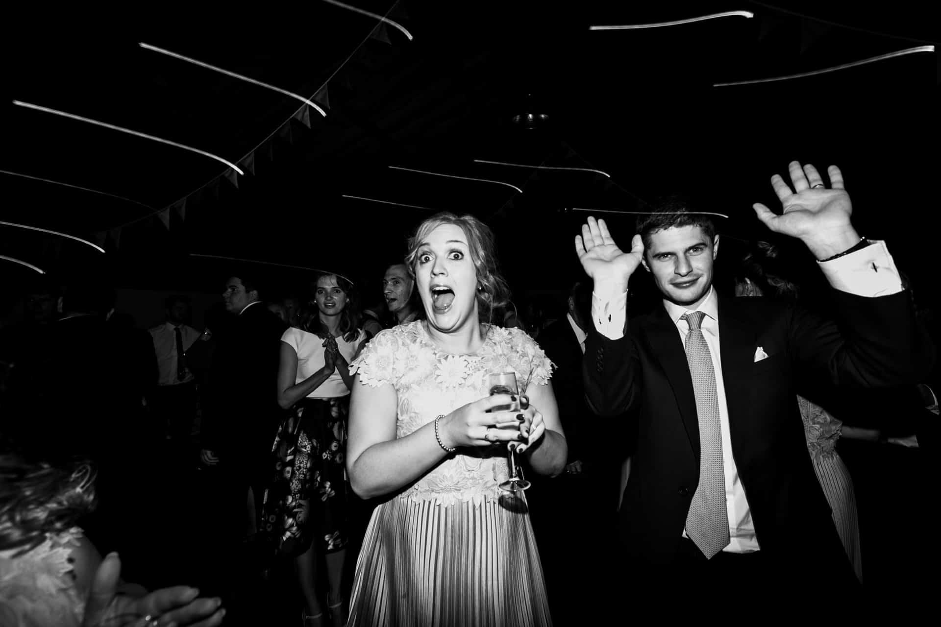 dancefloor antics at bridesmaids shot at Owen house barn wedding