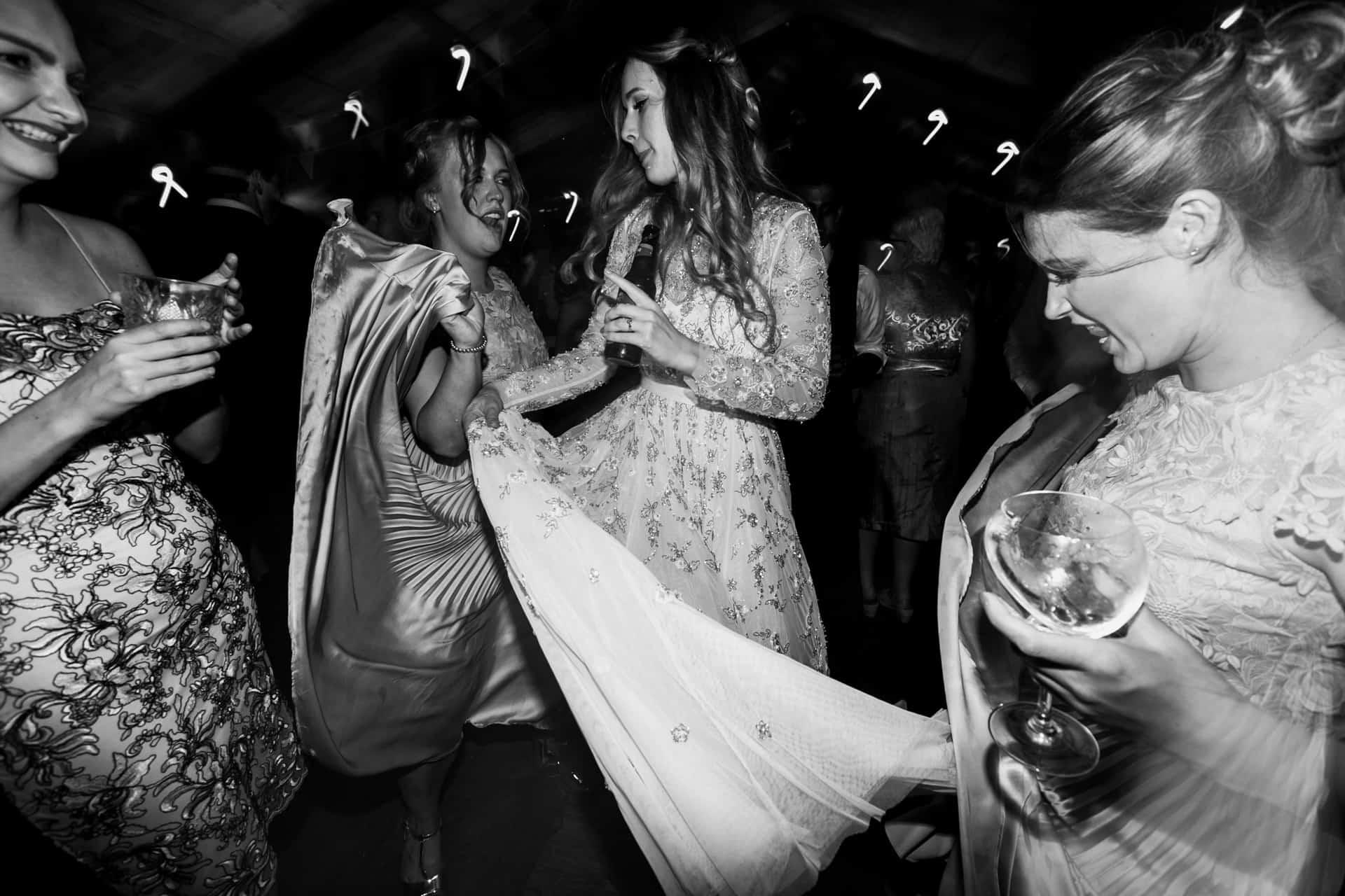 bride twirls dress at owen house