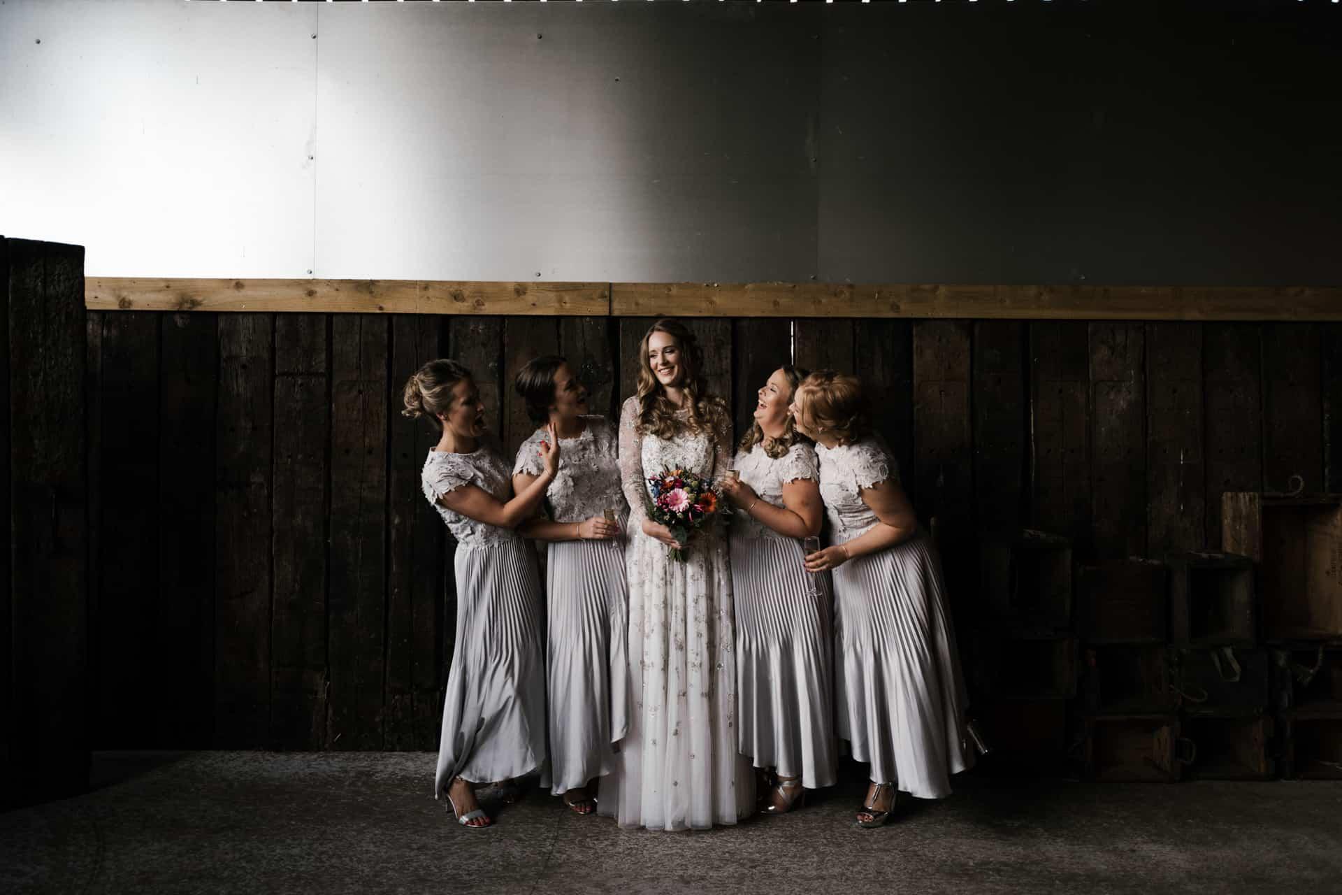 Bridesmaids at Owen House barn wedding
