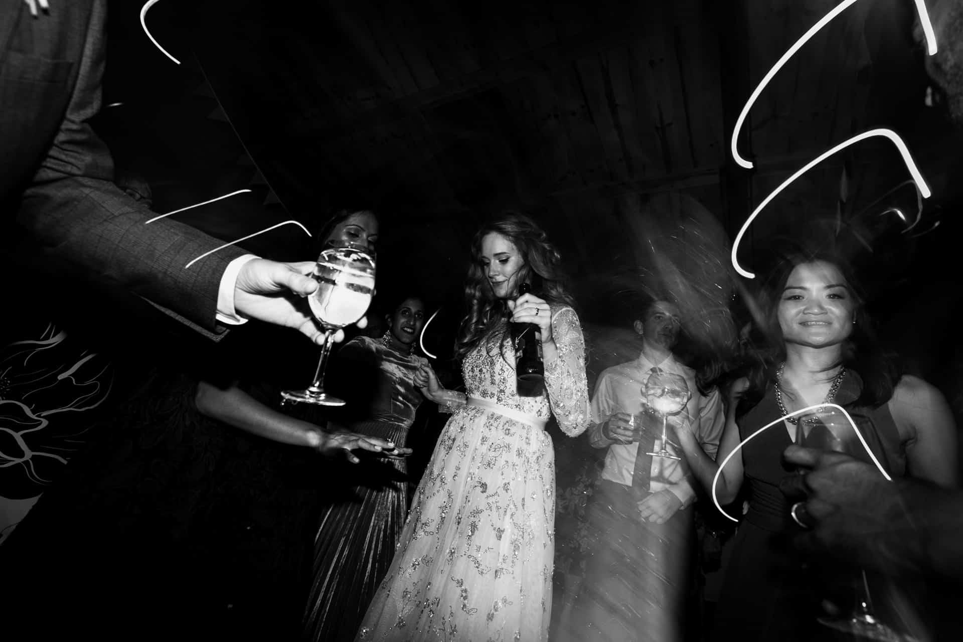 bride dancing at Owen House barn wedding
