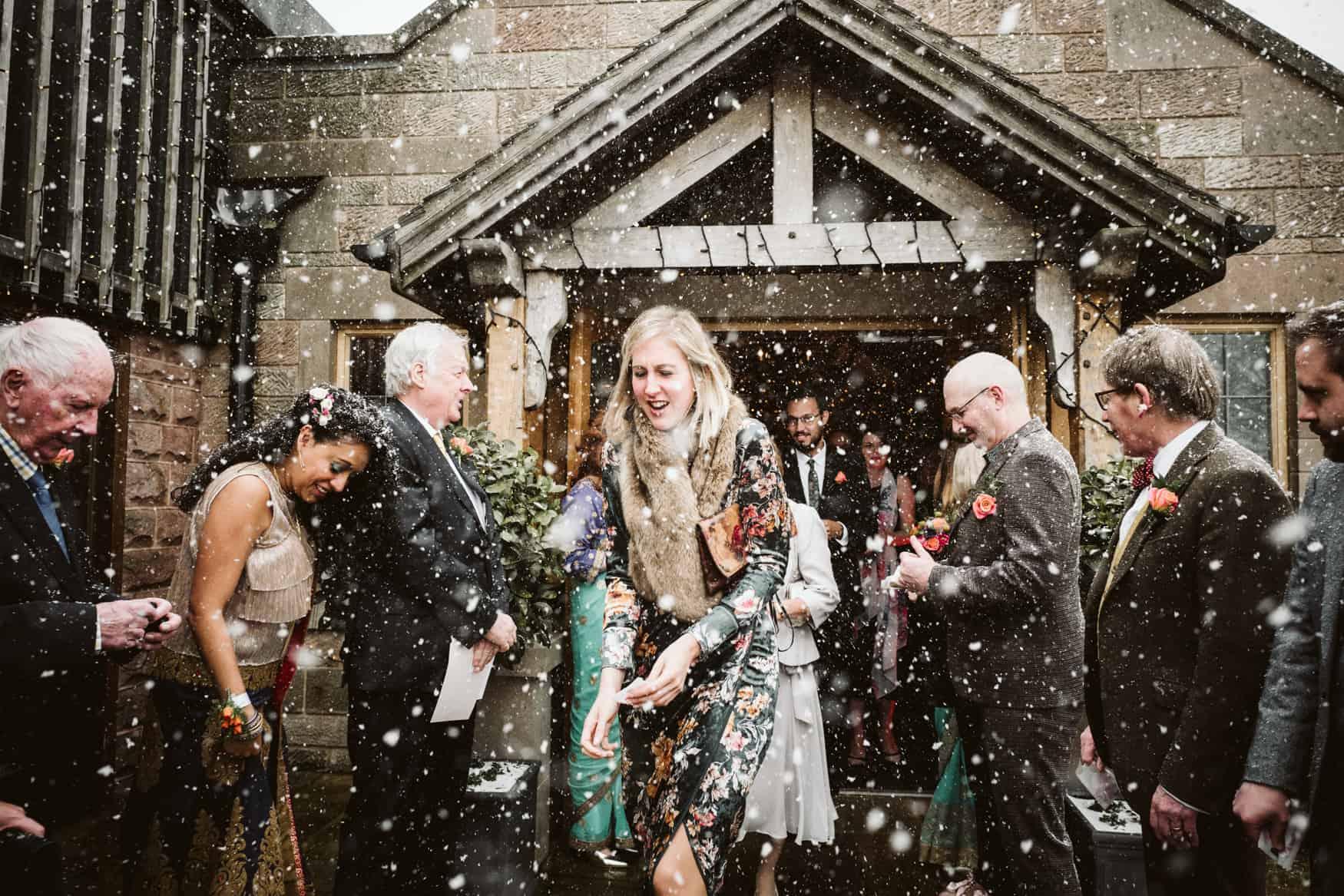 Blizzard outside Heaton House Farm wedding venue