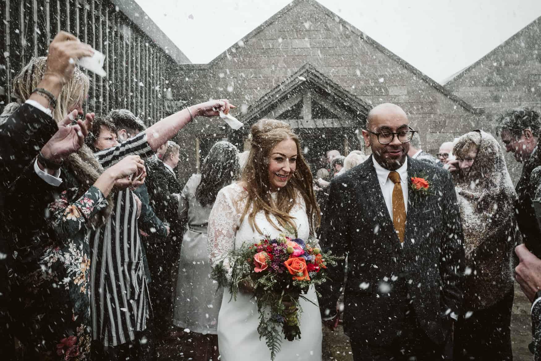 snowy confetti shout at heaton House farm wedding venue