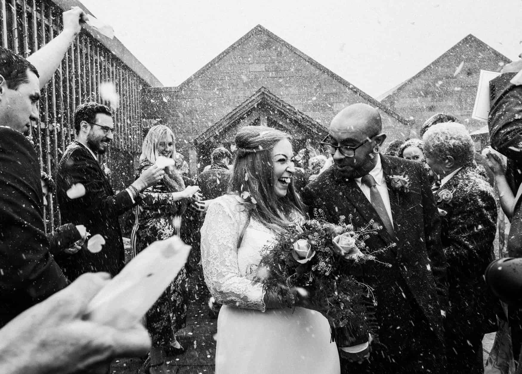 snow and confetti shot