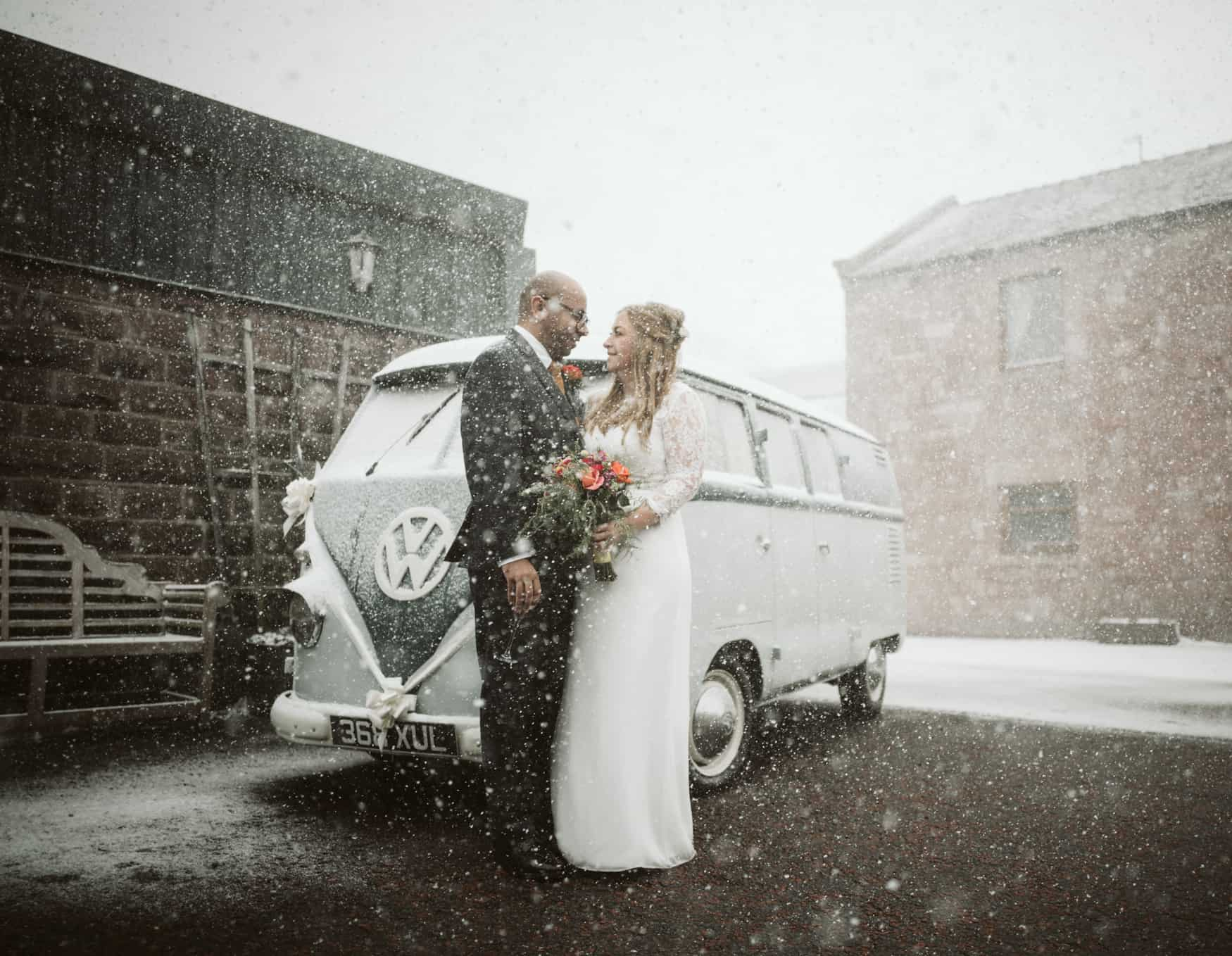 bride and groom portrait in the snow at heaton House farm