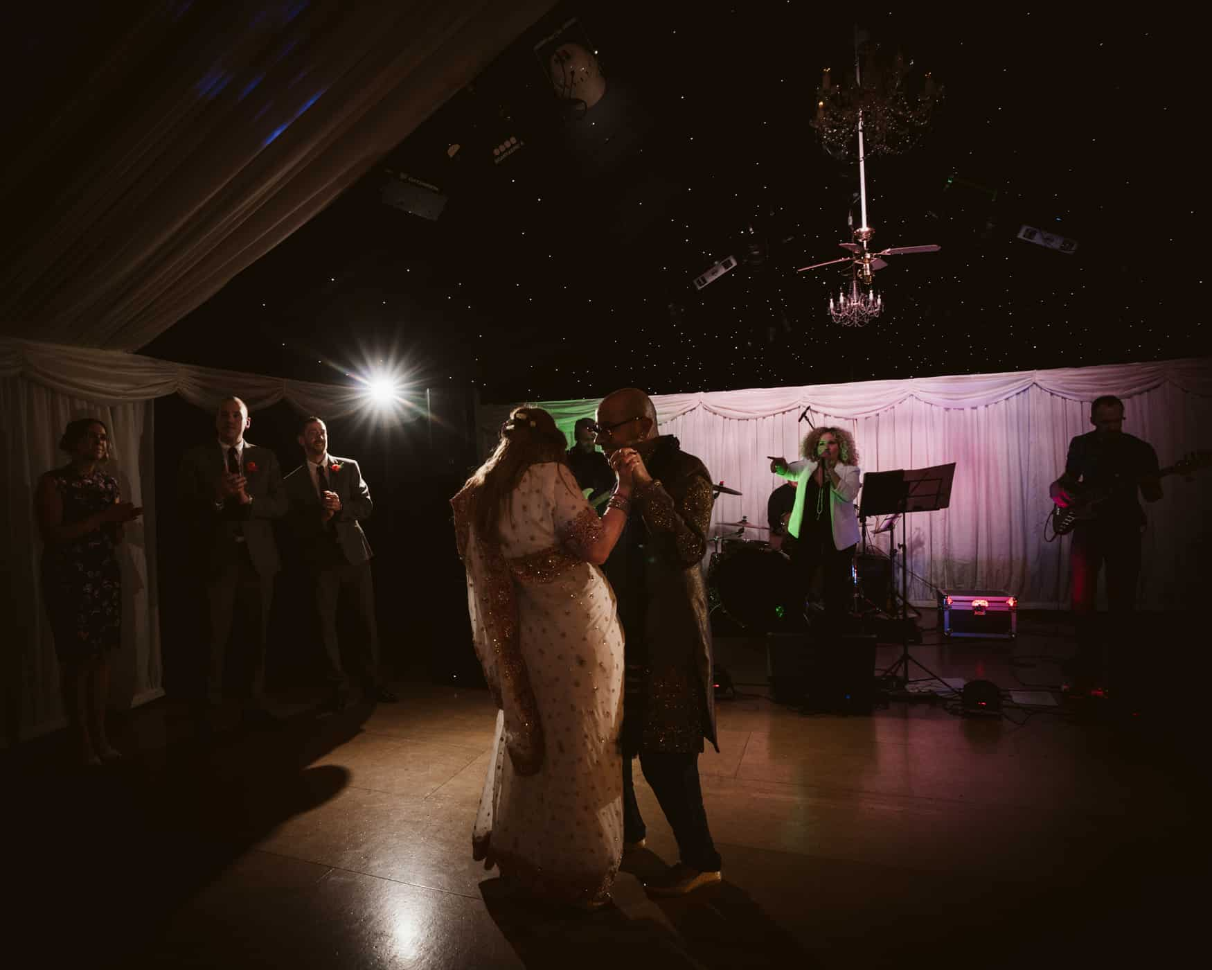bride and groom dance at heaton House wedding venue