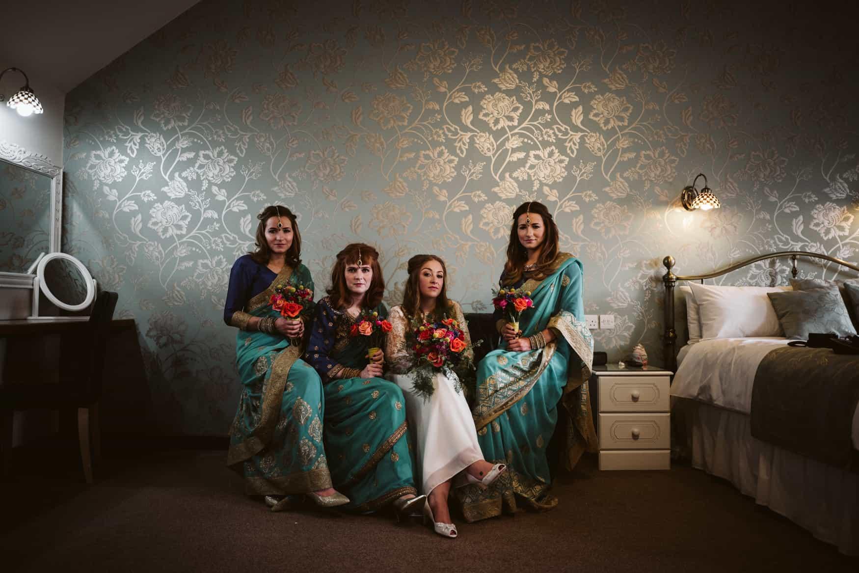 Bride and bridesmaids at Heaton House