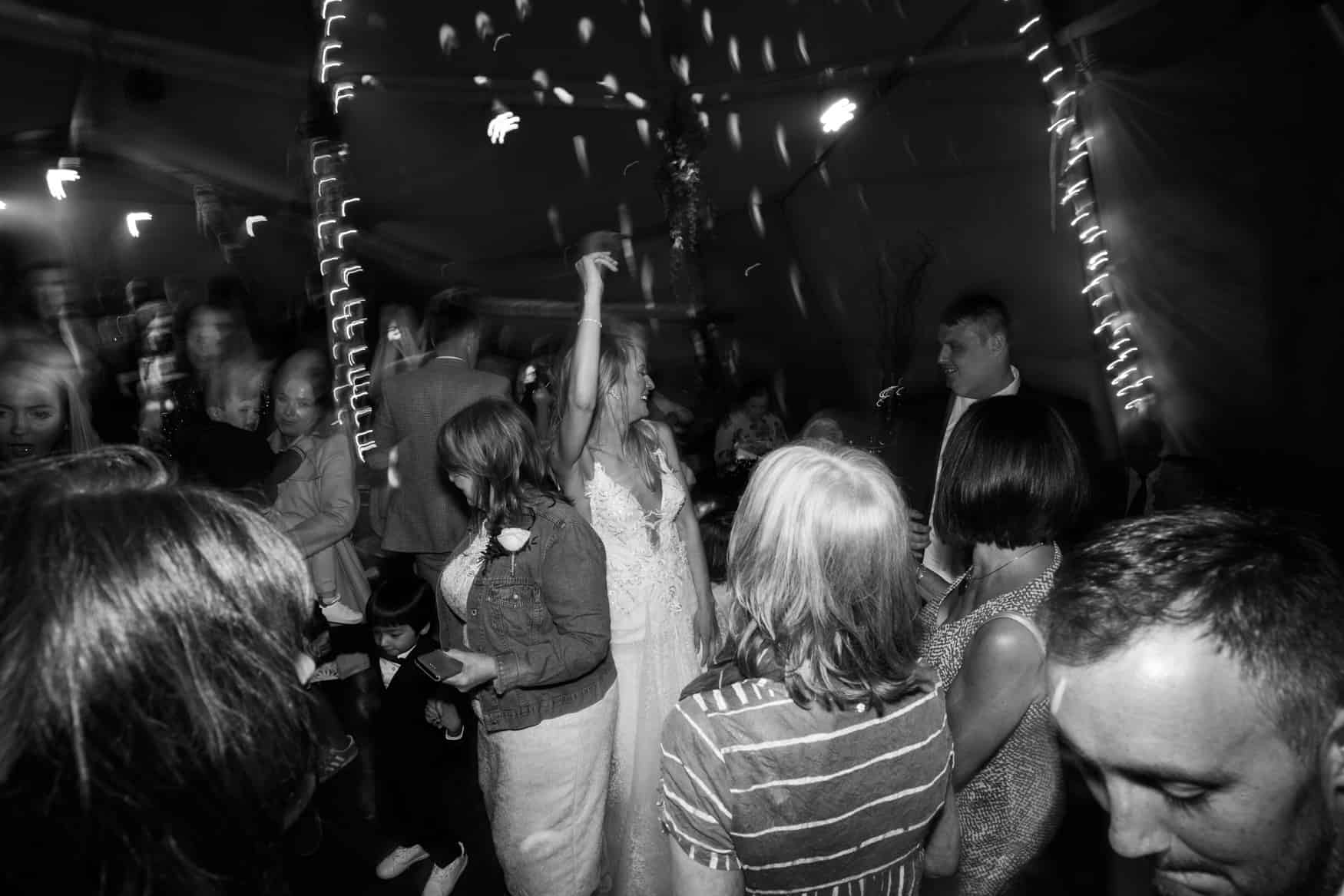 dancefloor fun at bride and groom first dance at The Lingholm Estate