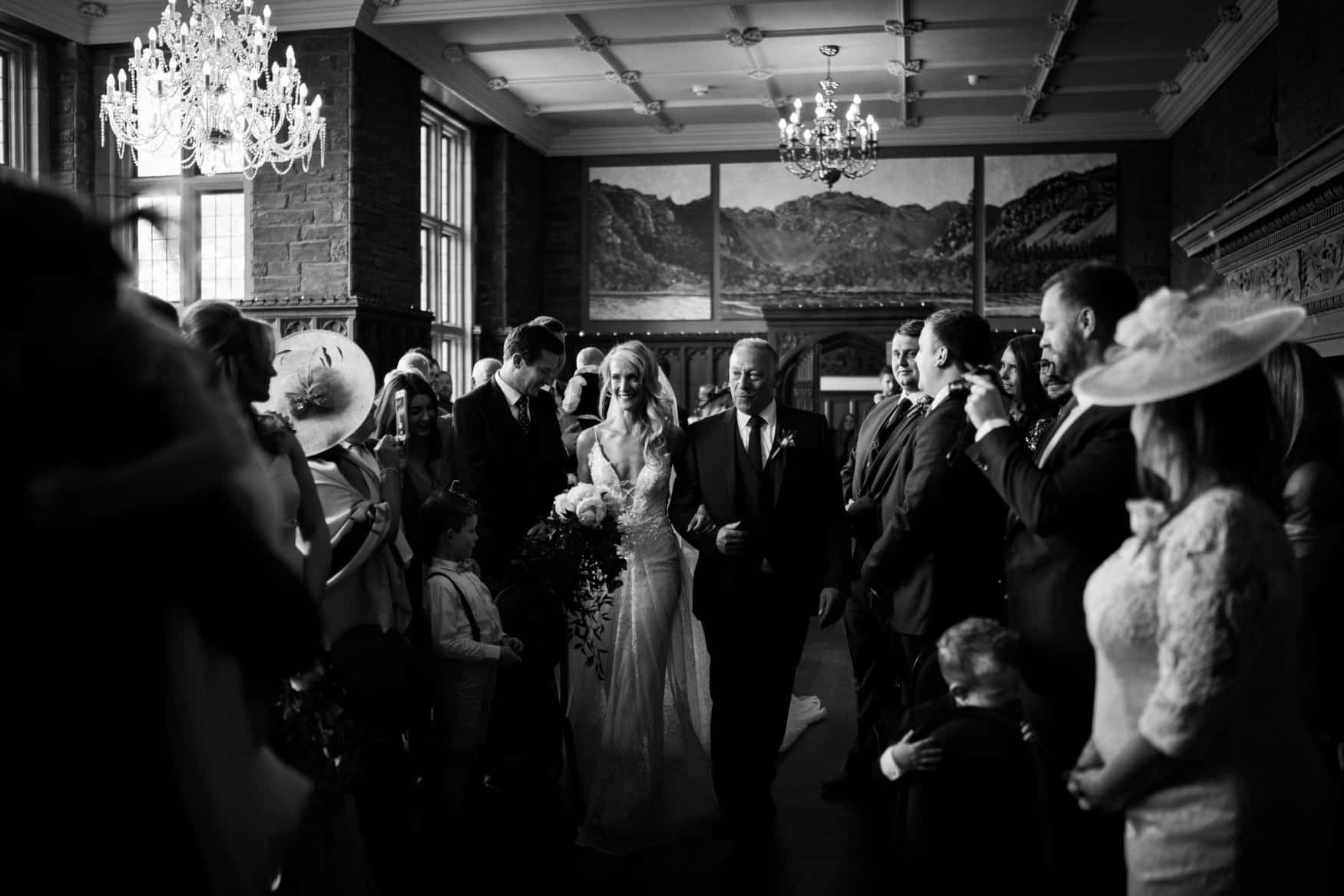 bride walks down the aisle