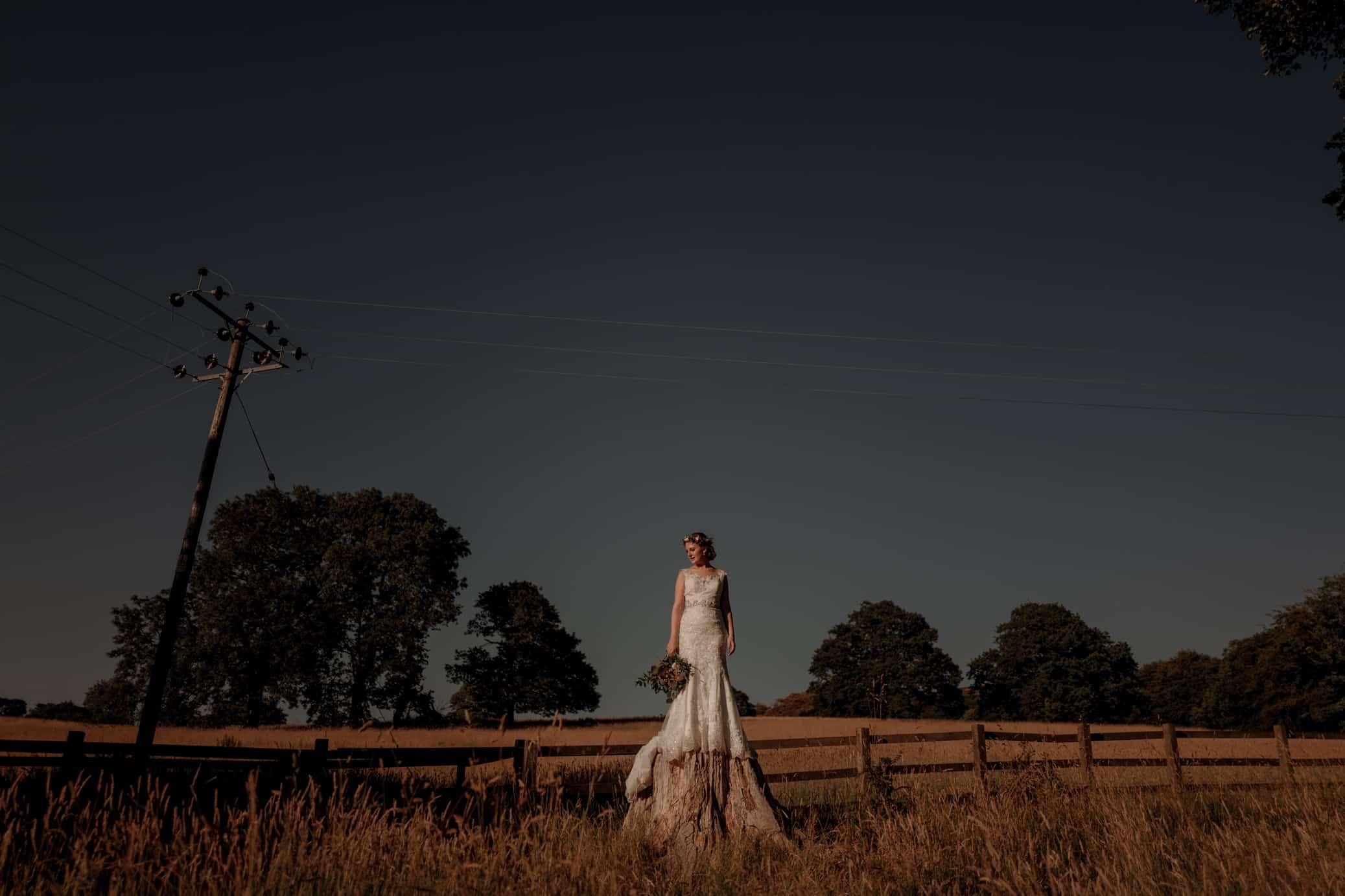 Golden Light wedding portrait of bride