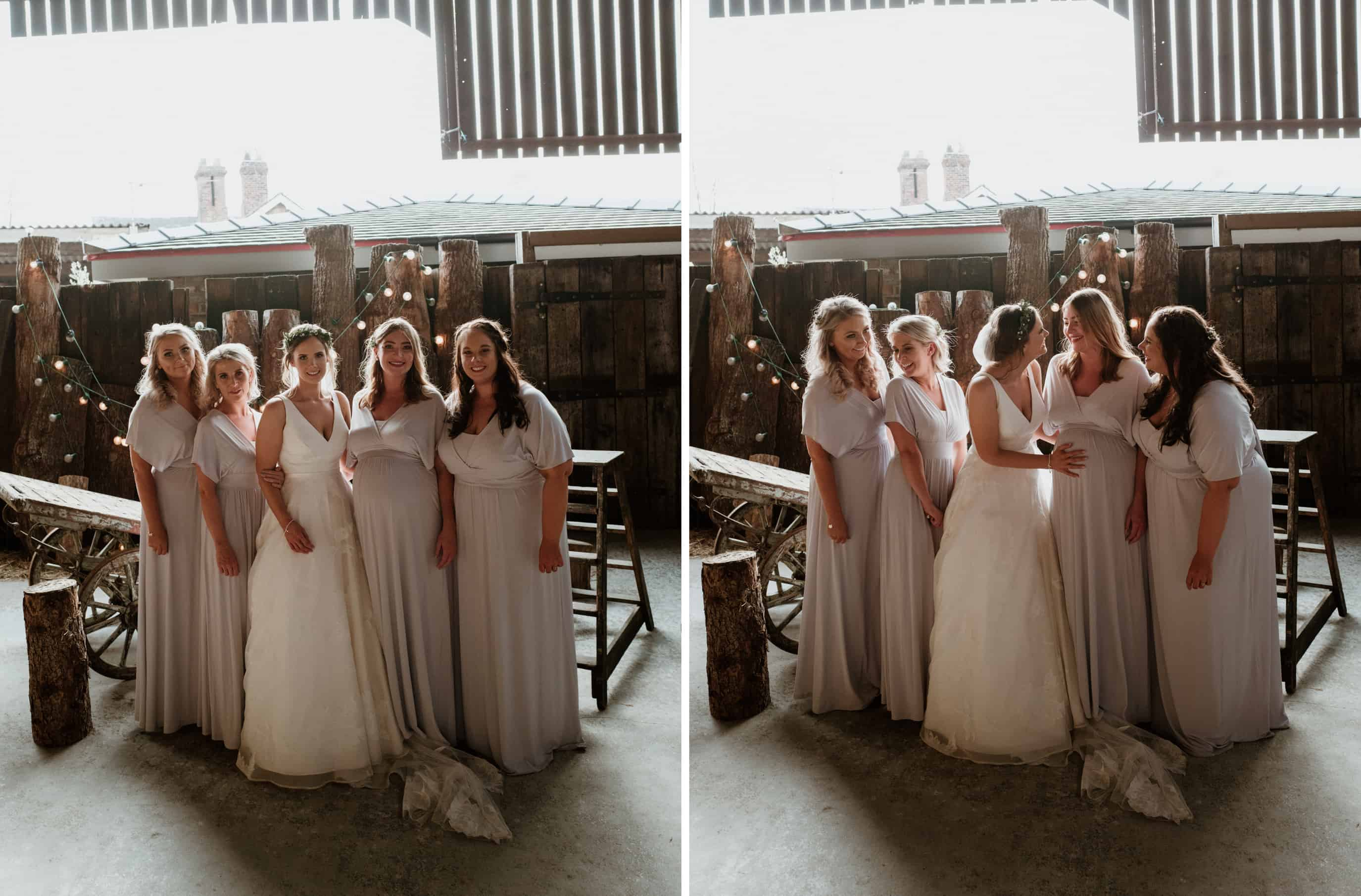 bride and her bridesmaids in wonderful golden light