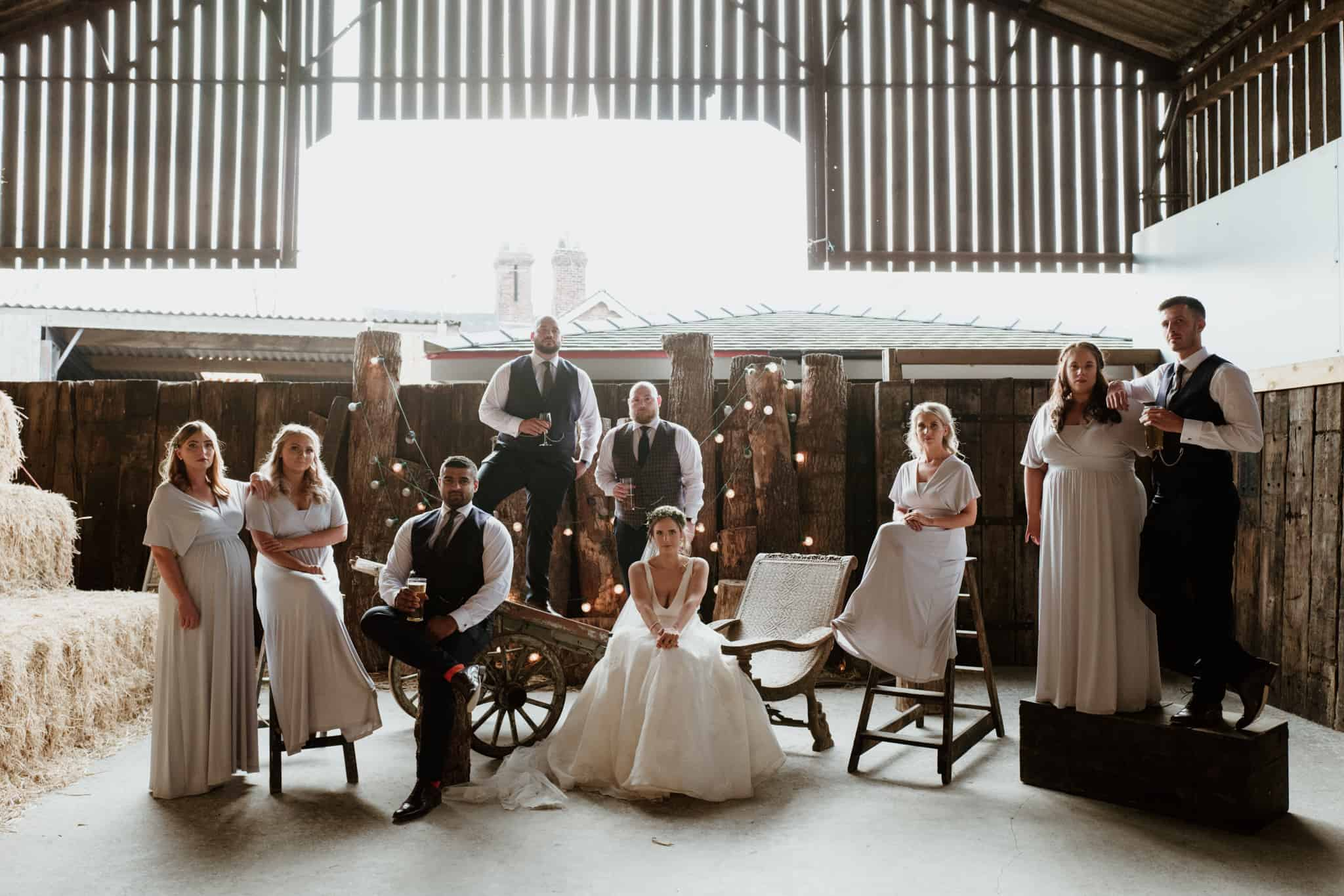 Bridal Party shot at a Cheshire wedding barn